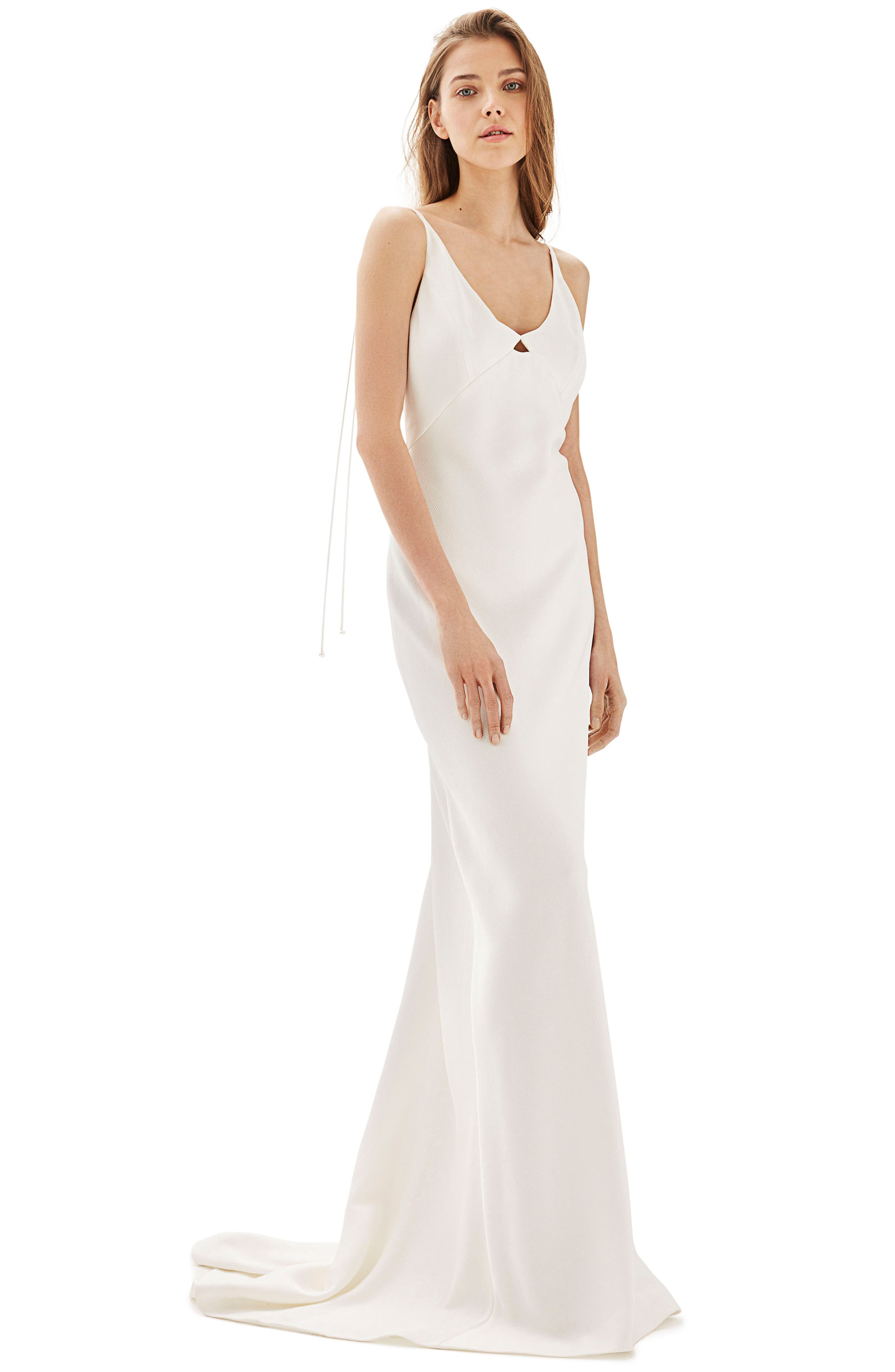 Bride V-Neck Satin Sheath Gown,                             Main thumbnail 1, color,                             Ivory