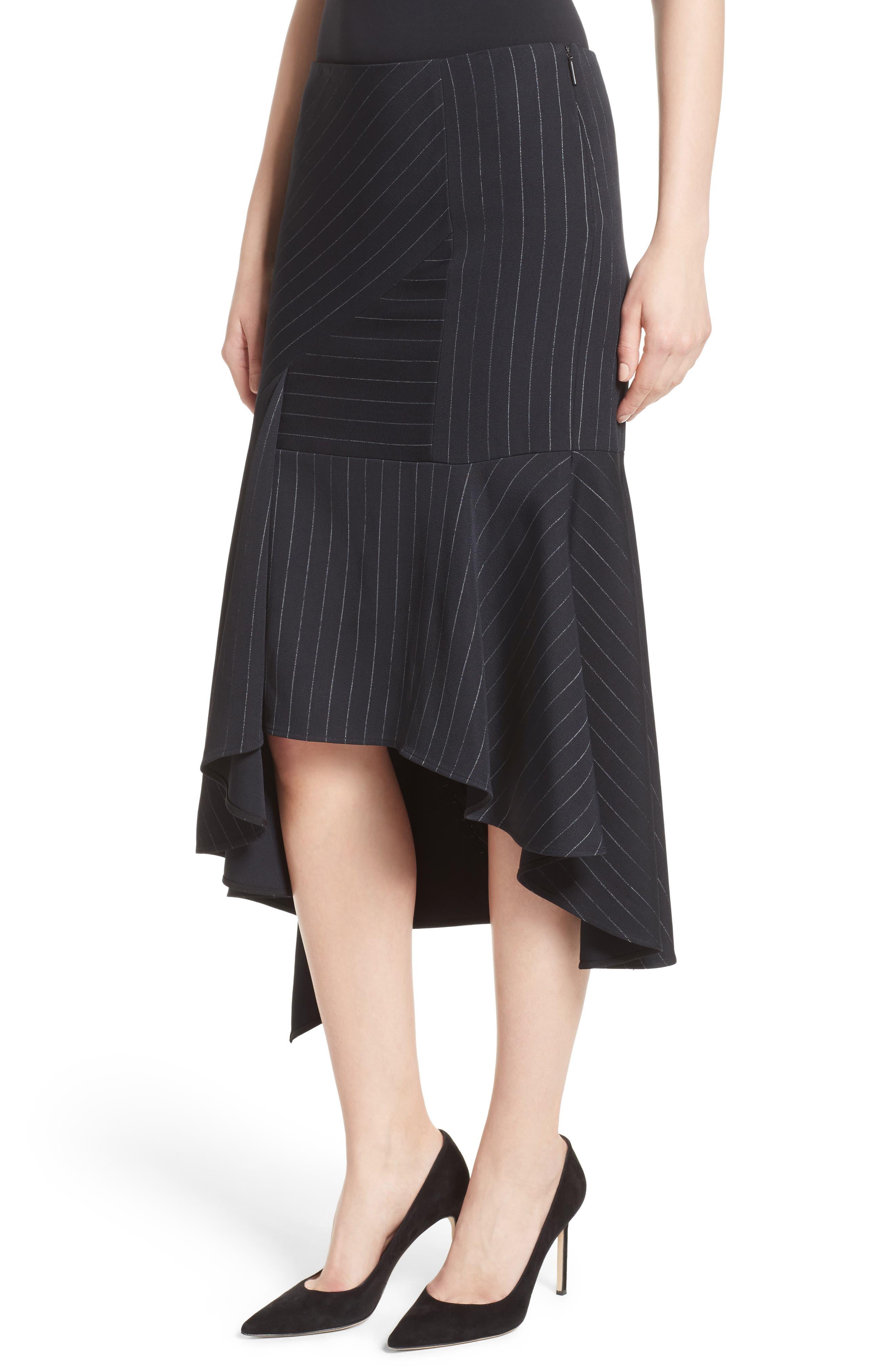 Pinstripe Stretch Asymmetrical Skirt,                             Alternate thumbnail 7, color,                             Black/ Chalk