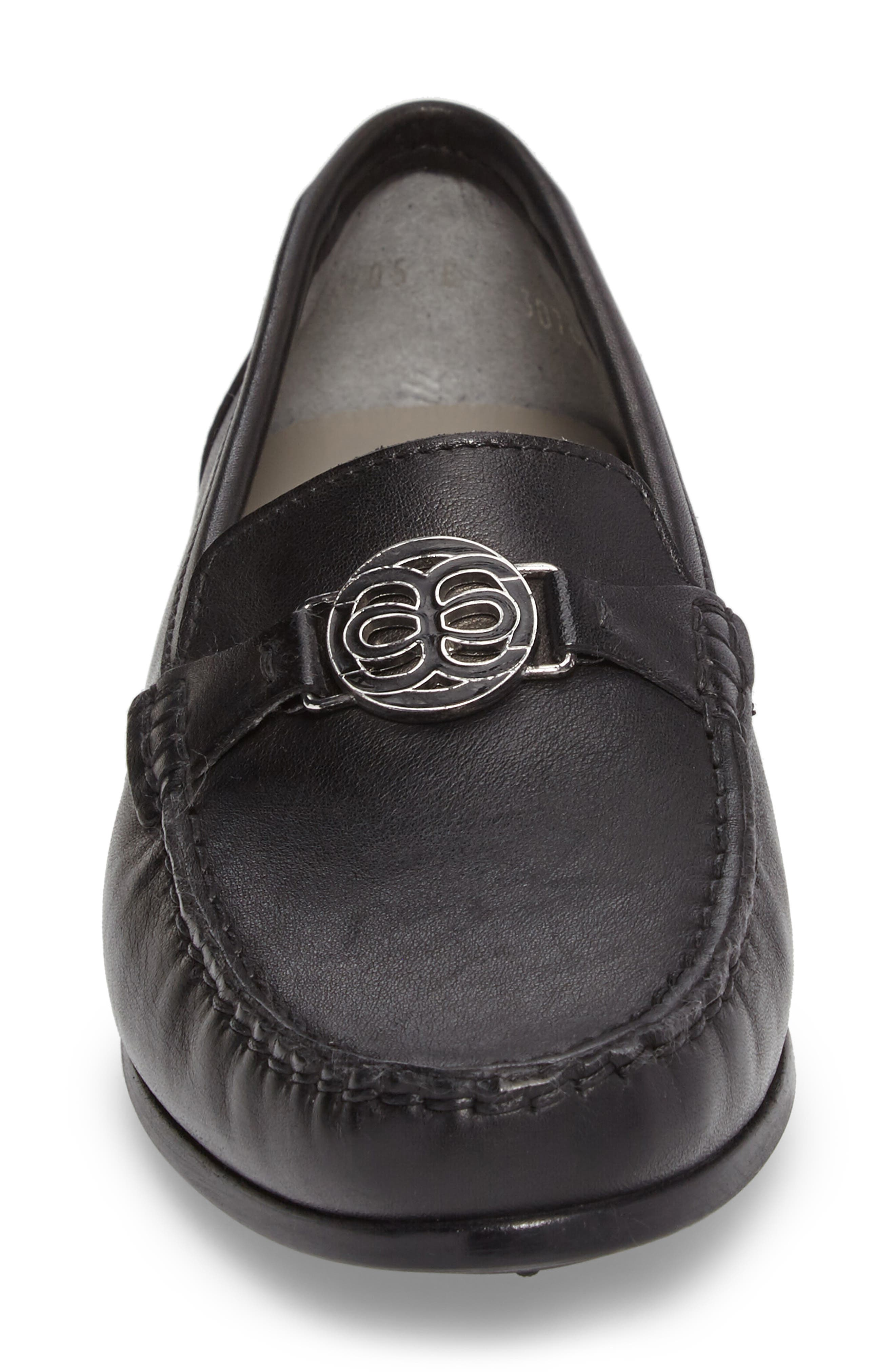 Blanche Loafer,                             Alternate thumbnail 4, color,                             Black Leather