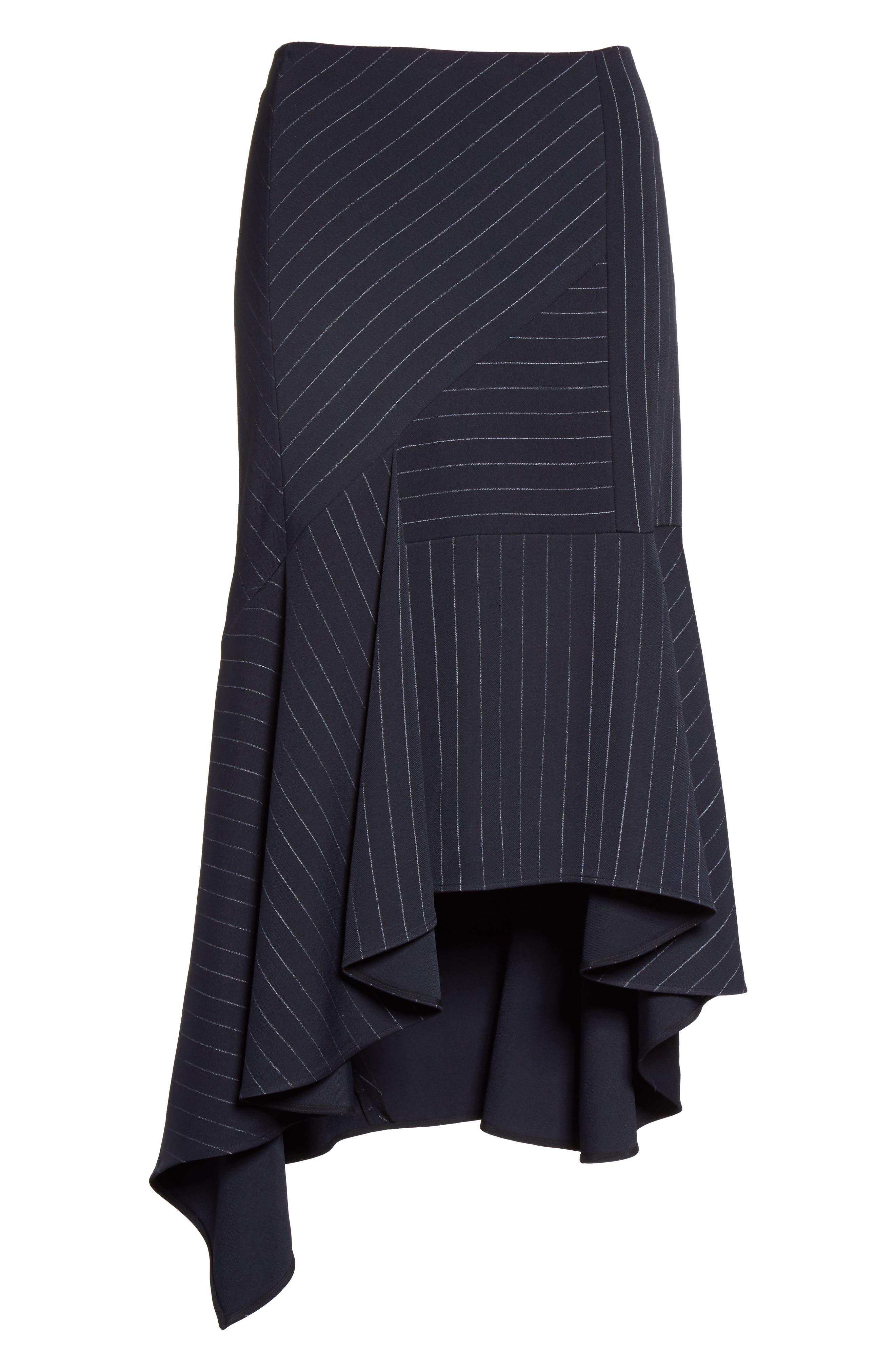 Pinstripe Stretch Asymmetrical Skirt,                             Alternate thumbnail 4, color,                             Black/ Chalk