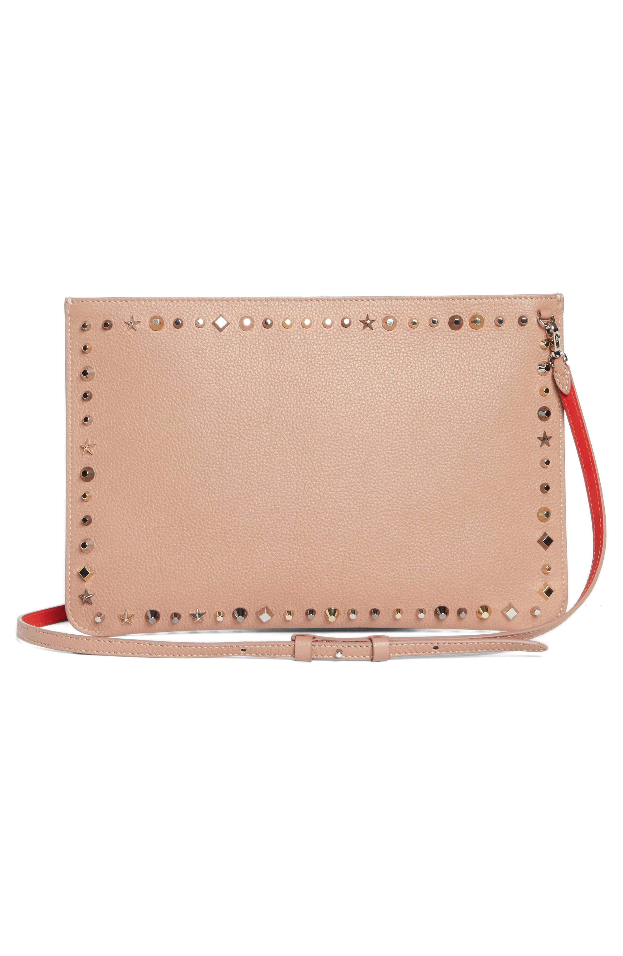 Loubiclutch Spiked Leather Clutch,                             Alternate thumbnail 3, color,                             Nude/ Multimetal
