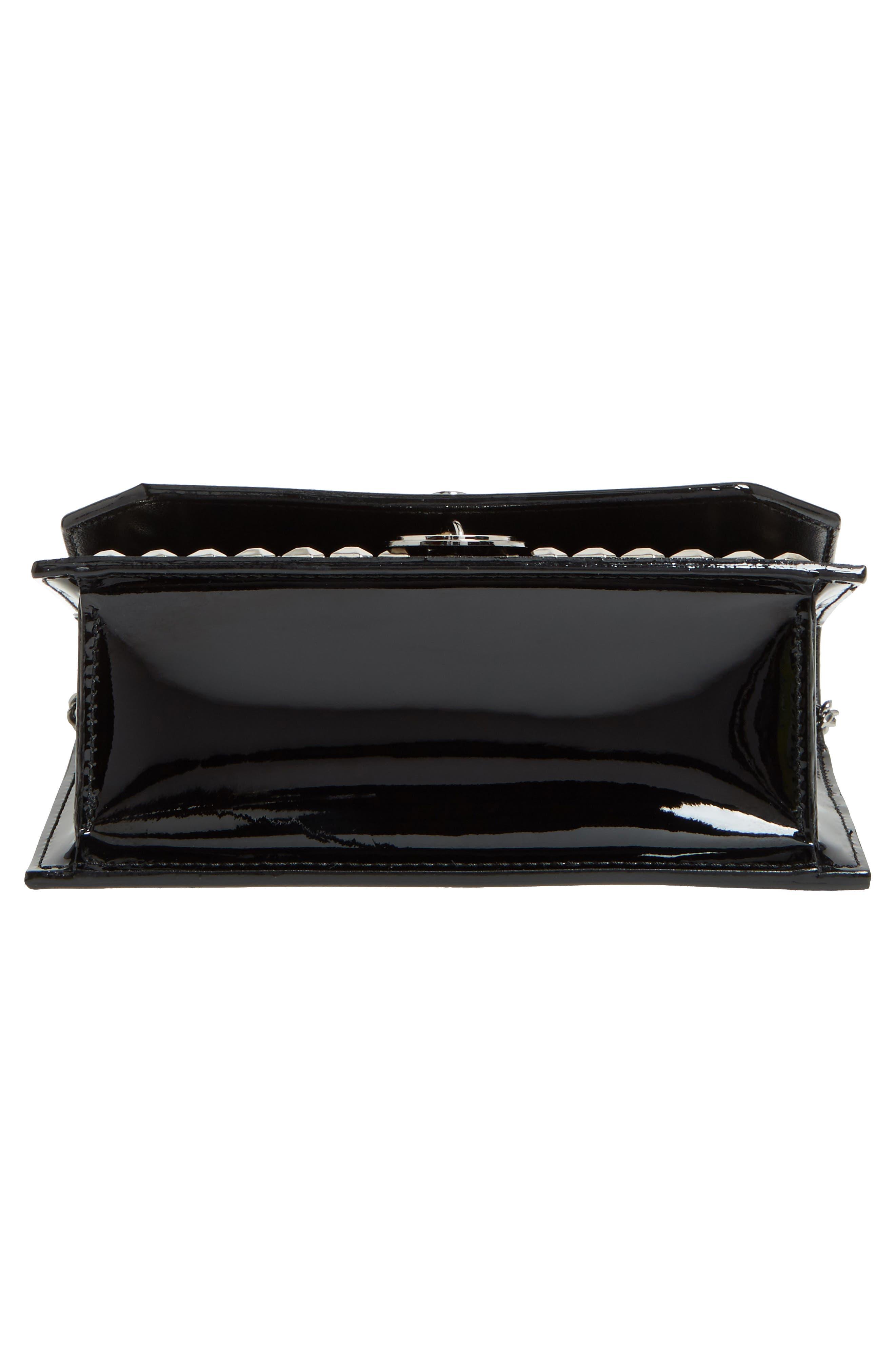 Finley Studded Leather Shoulder Bag,                             Alternate thumbnail 6, color,                             Black