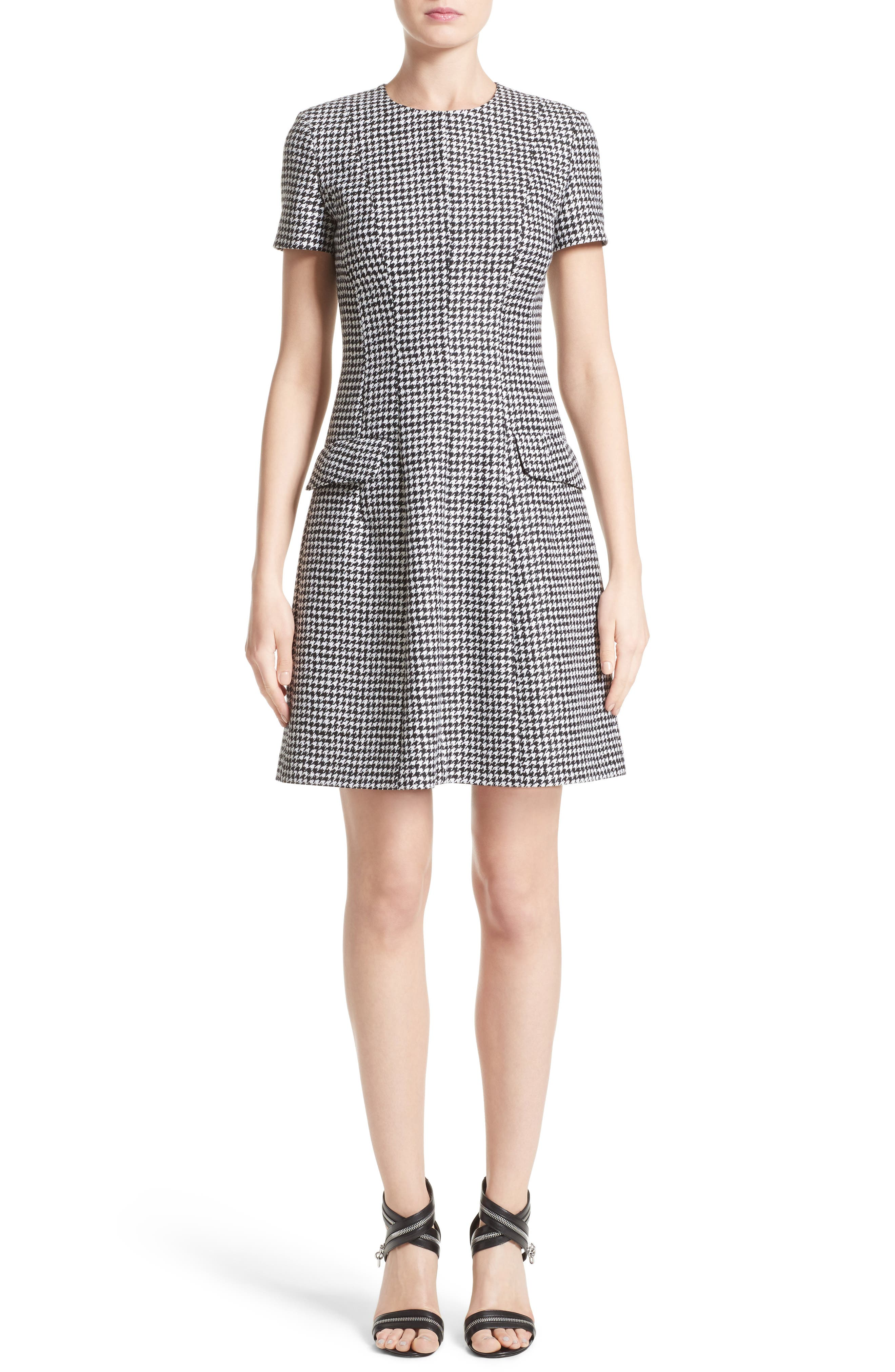 Houndstooth Wool Jacquard A-Line Dress,                         Main,                         color, Black/ White