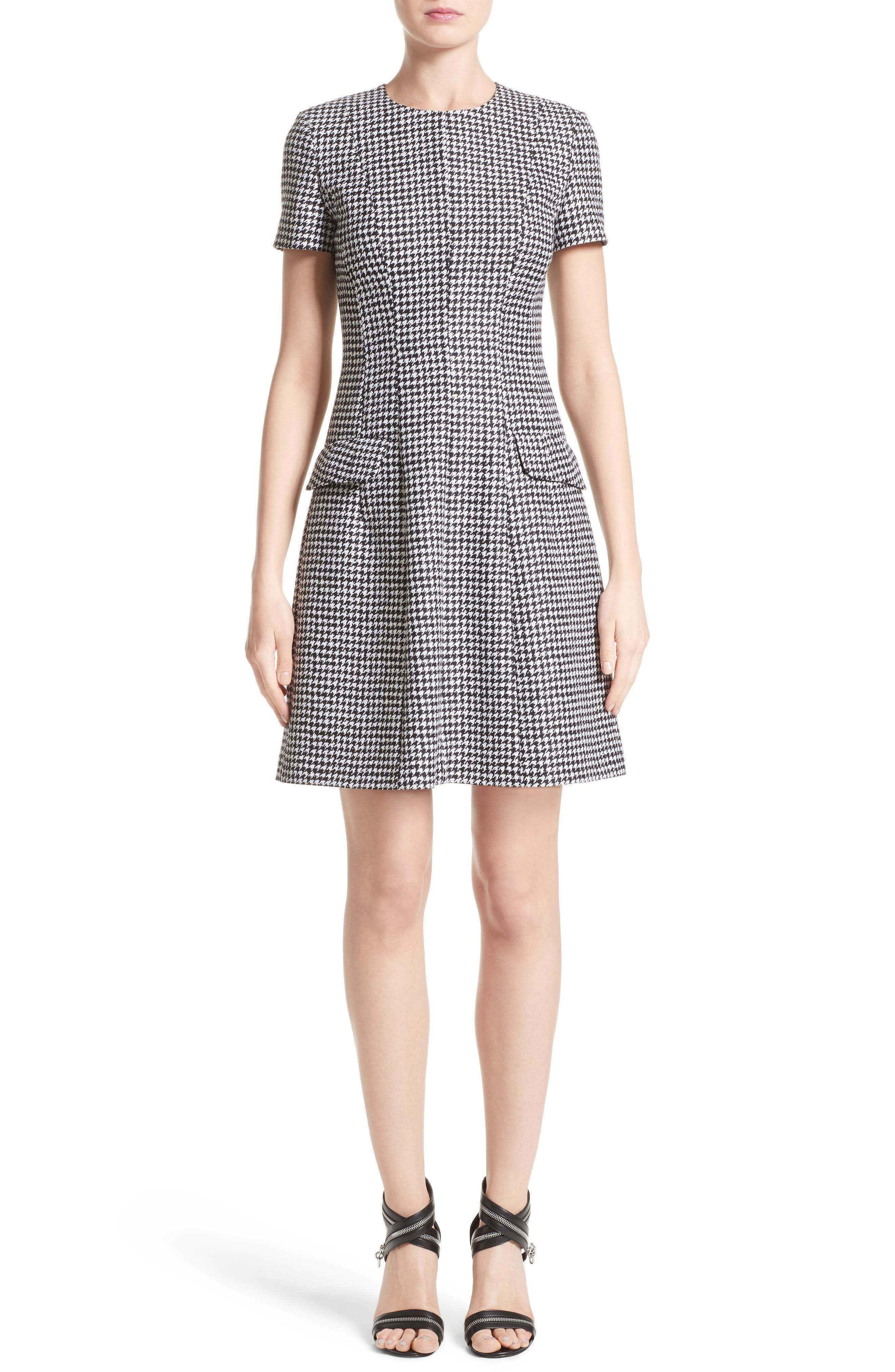 Michael Kors Houndstooth Wool Jacquard A-Line Dress