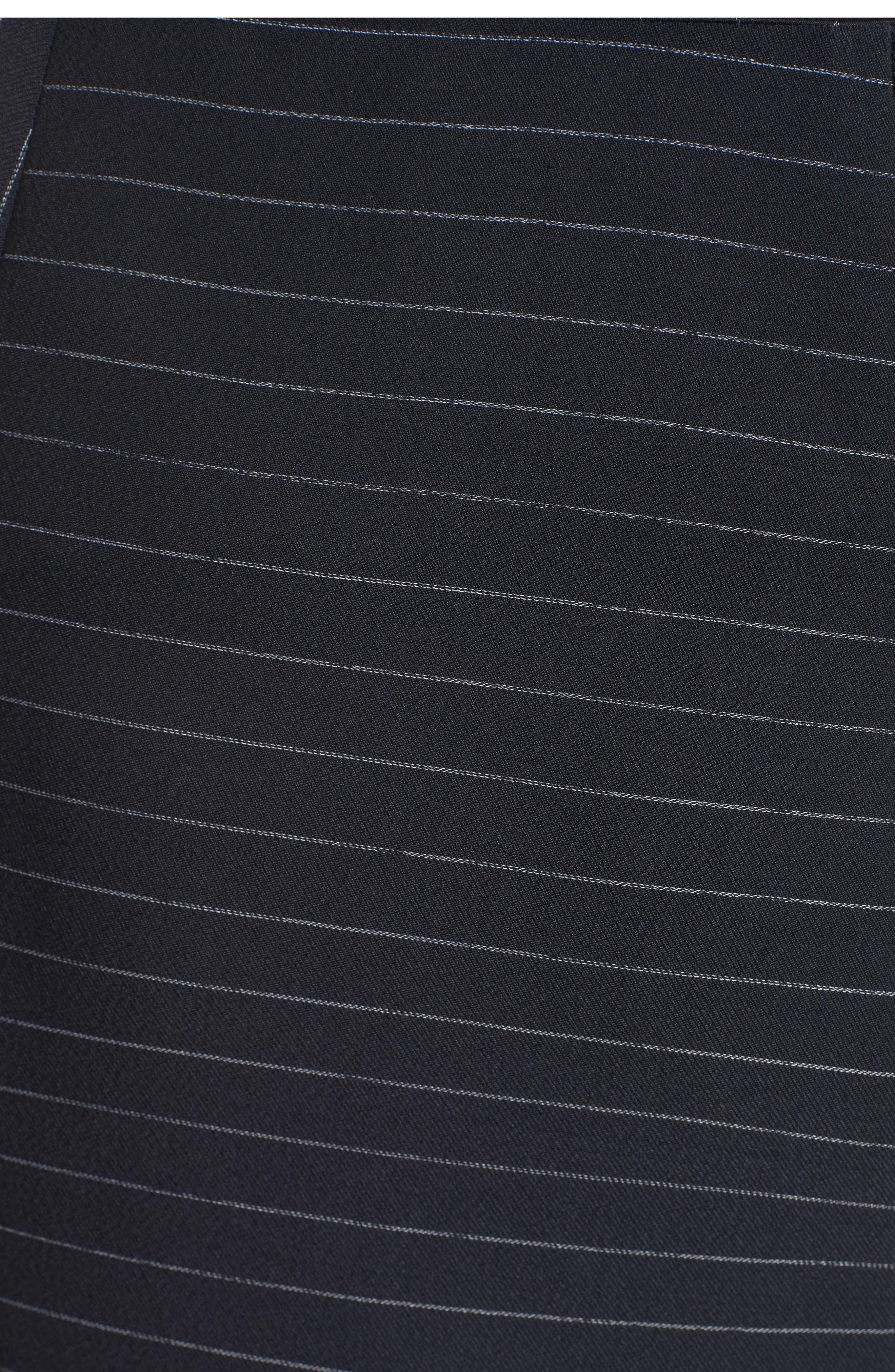 Pinstripe Stretch Asymmetrical Skirt,                             Alternate thumbnail 3, color,                             Black/ Chalk