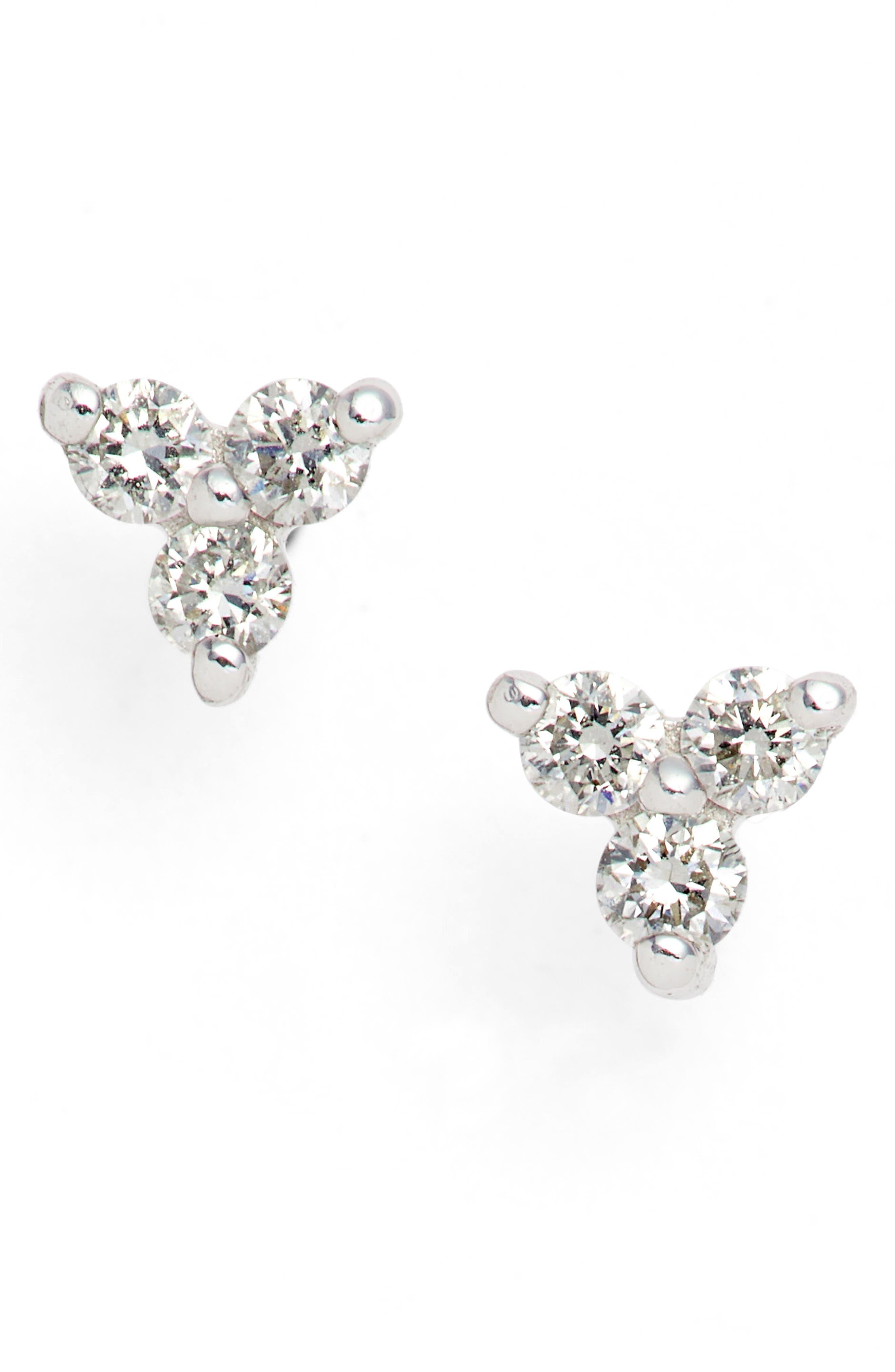 Liora Diamond Stud Earrings,                         Main,                         color, White Gold
