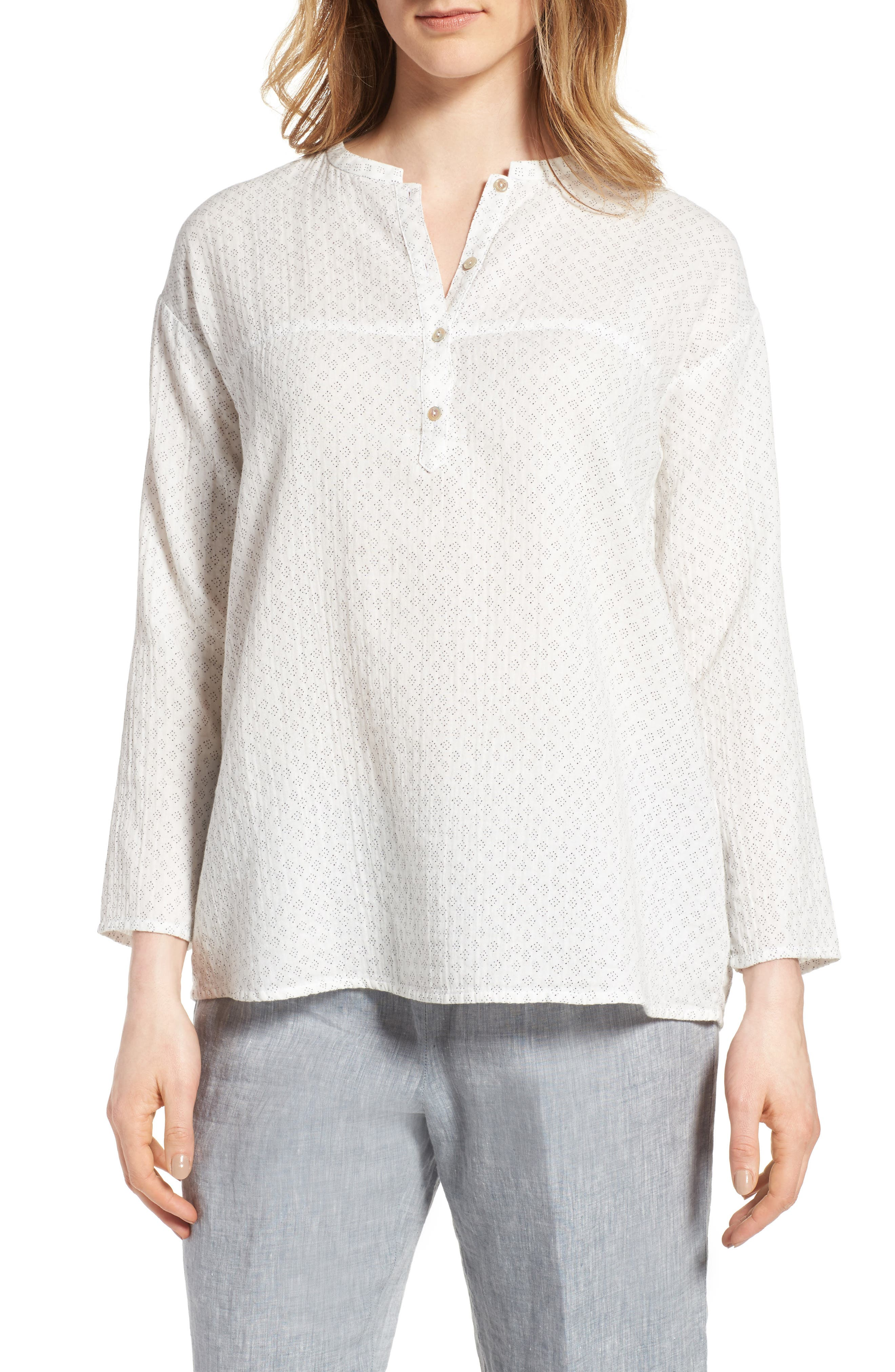 EILEEN FISHER Print Organic Cotton Top