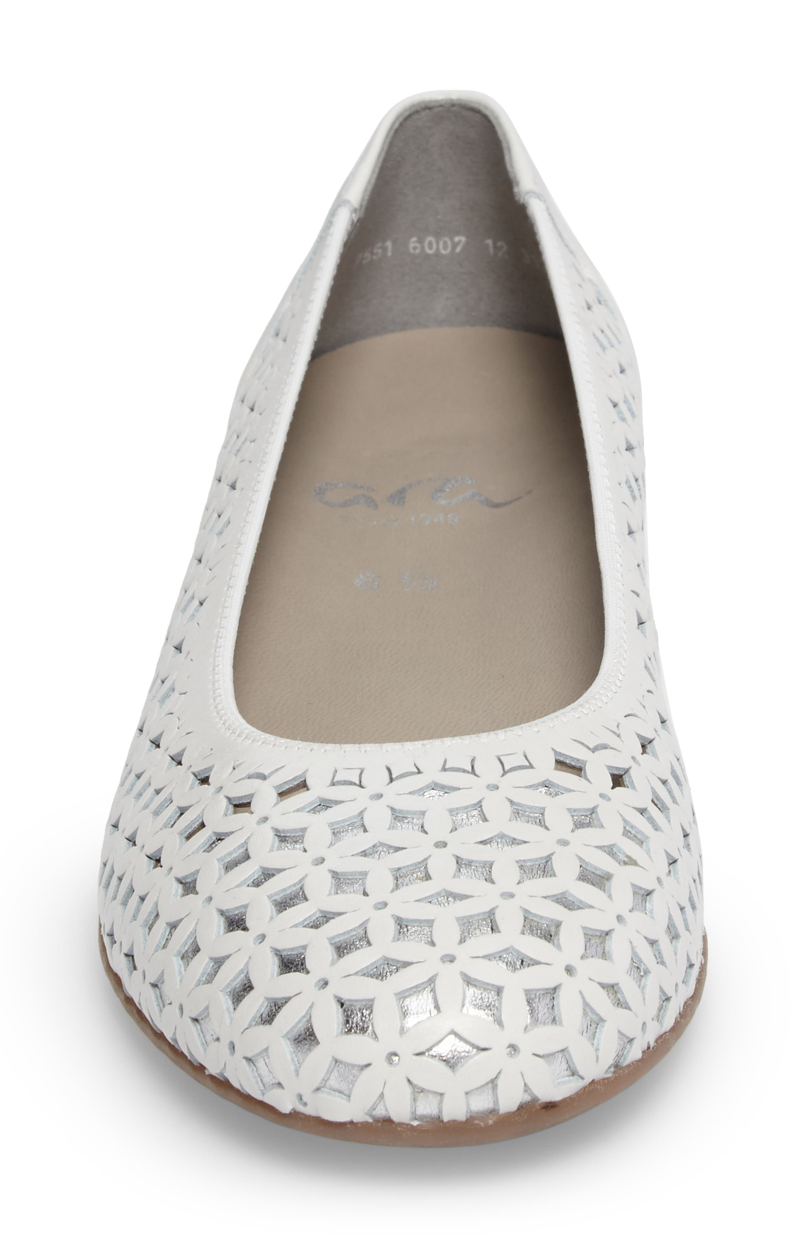 Stephanie Perforated Ballet Flat,                             Alternate thumbnail 4, color,                             White Leather