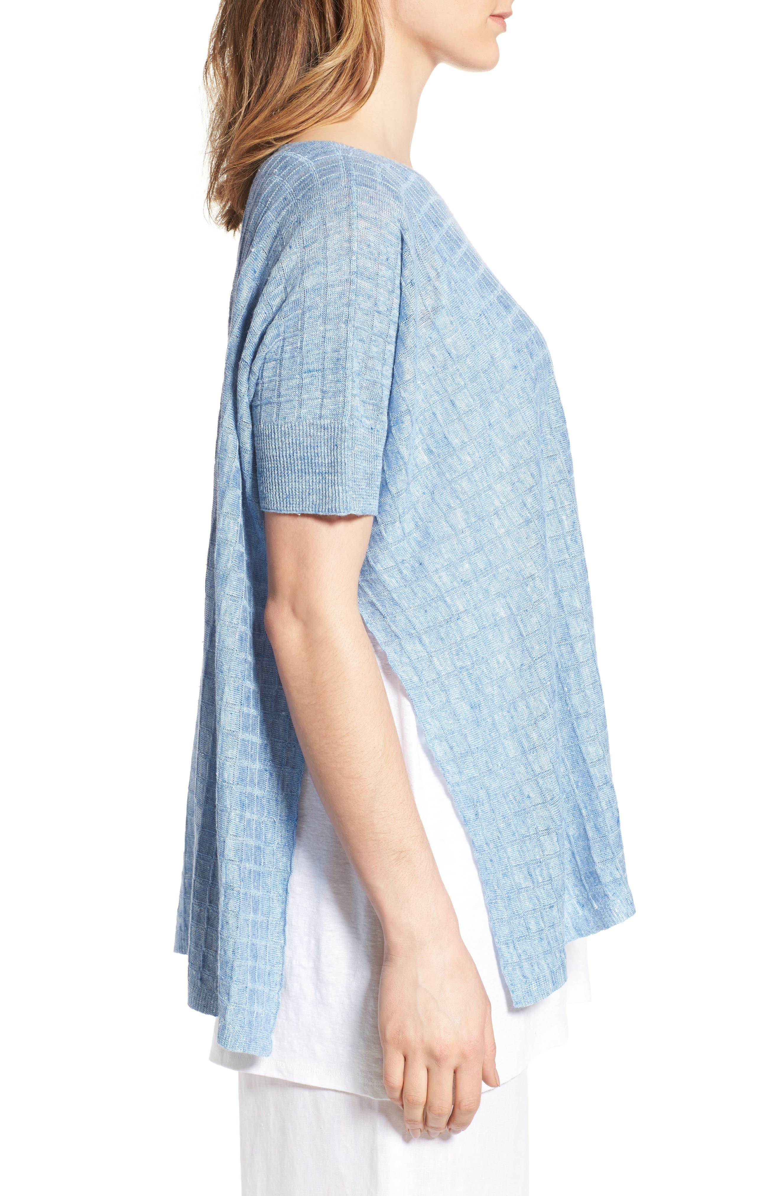 Alternate Image 3  - Eileen Fisher Linen Side Slit Sweater (Regular & Petite)