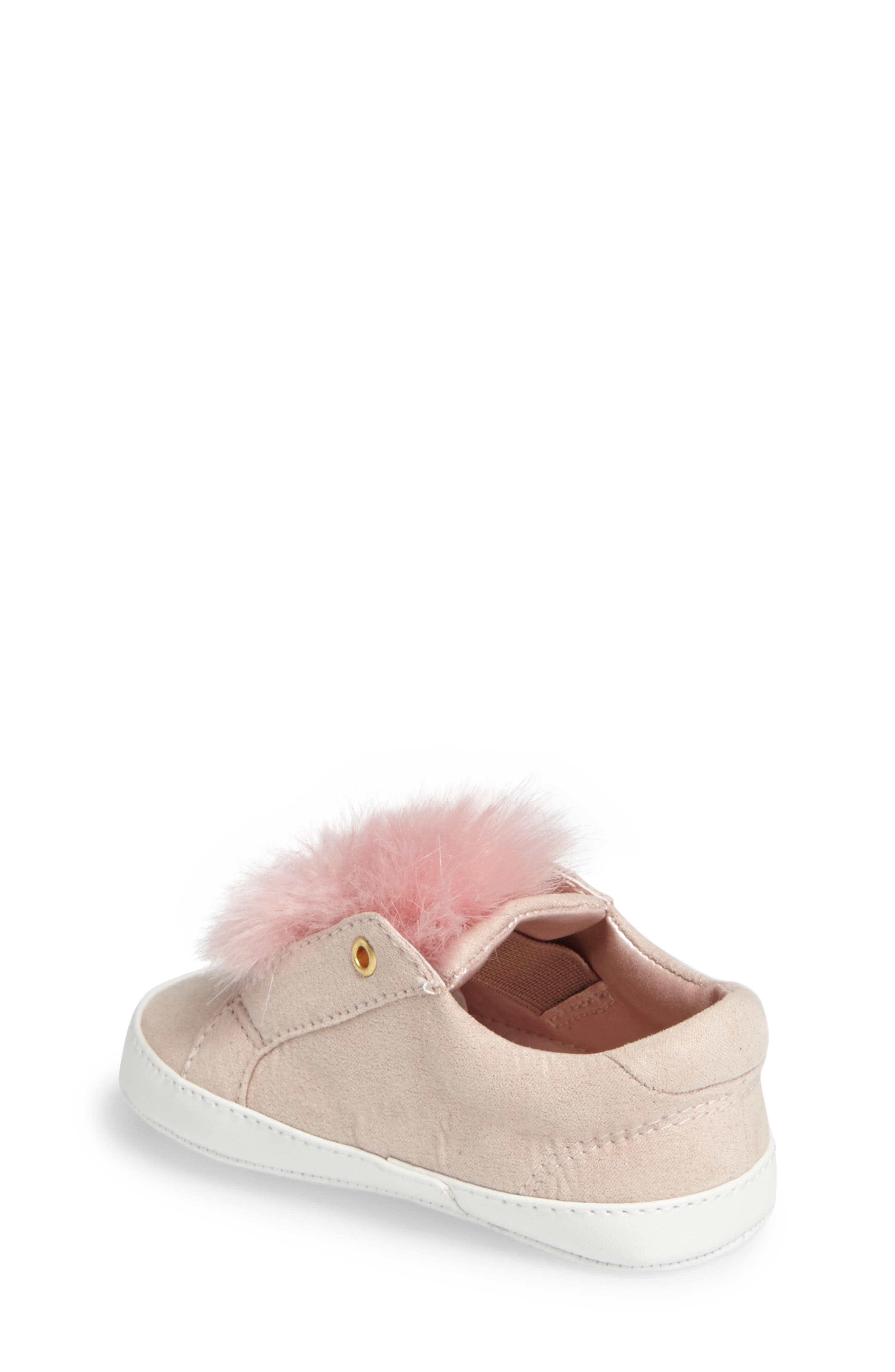 Leya Faux Fur Pompom Sneaker,                             Alternate thumbnail 2, color,                             Pink