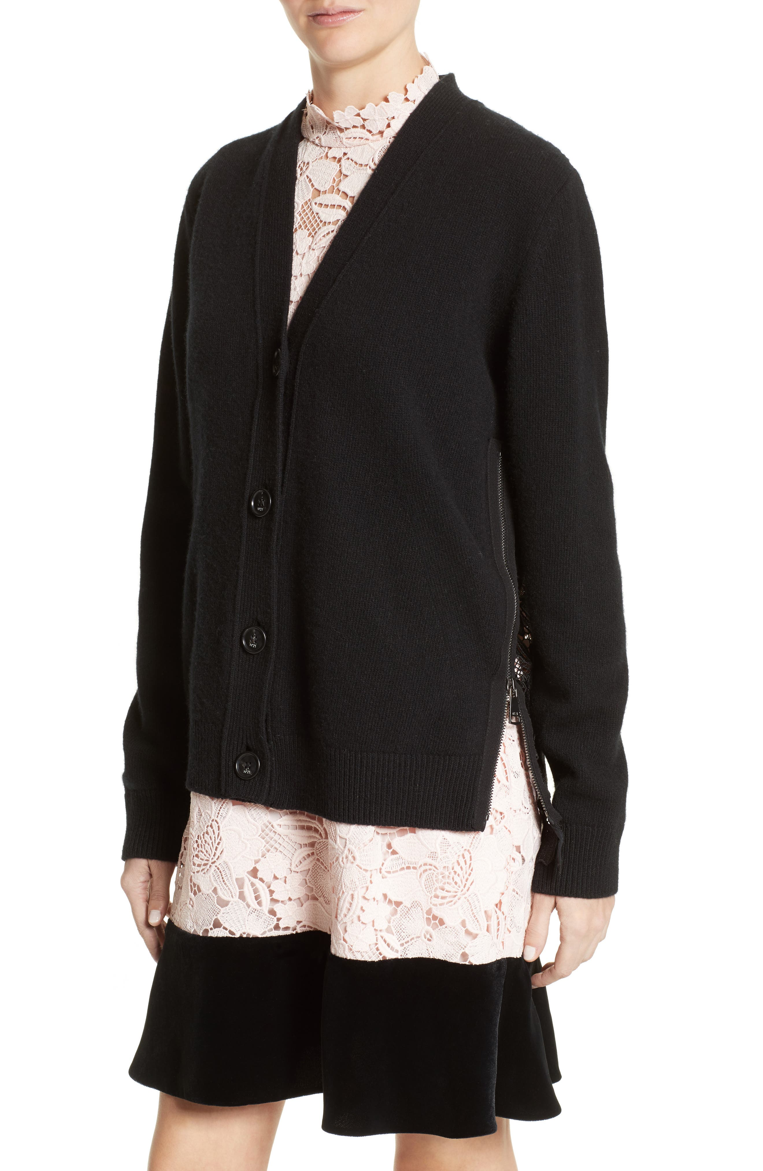 Lace Back Wool Blend Cardigan,                             Alternate thumbnail 5, color,                             Black