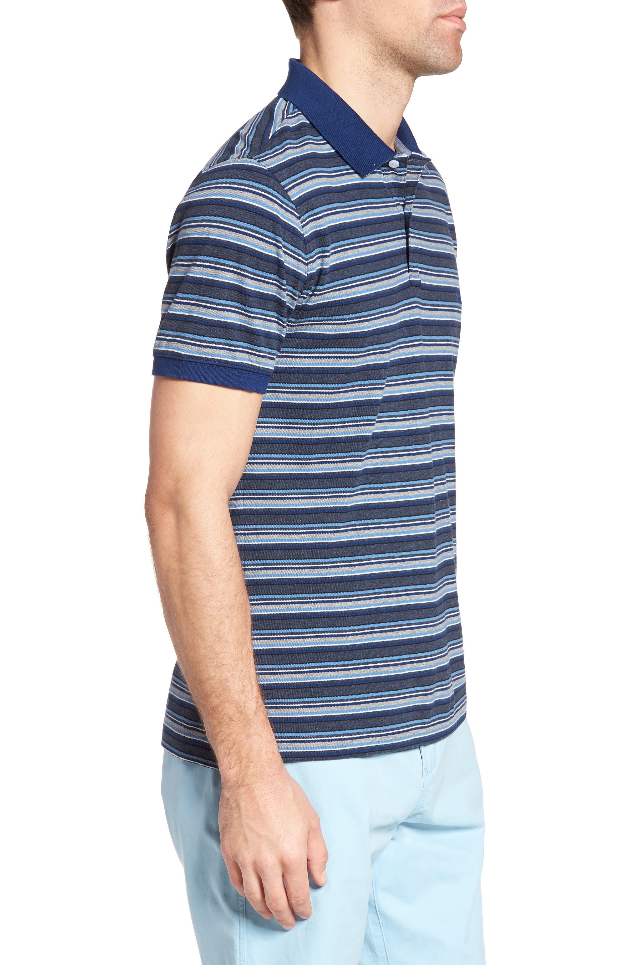 MacDonald Downs Sports Fit Stripe Piqué Polo,                             Alternate thumbnail 3, color,                             Denim