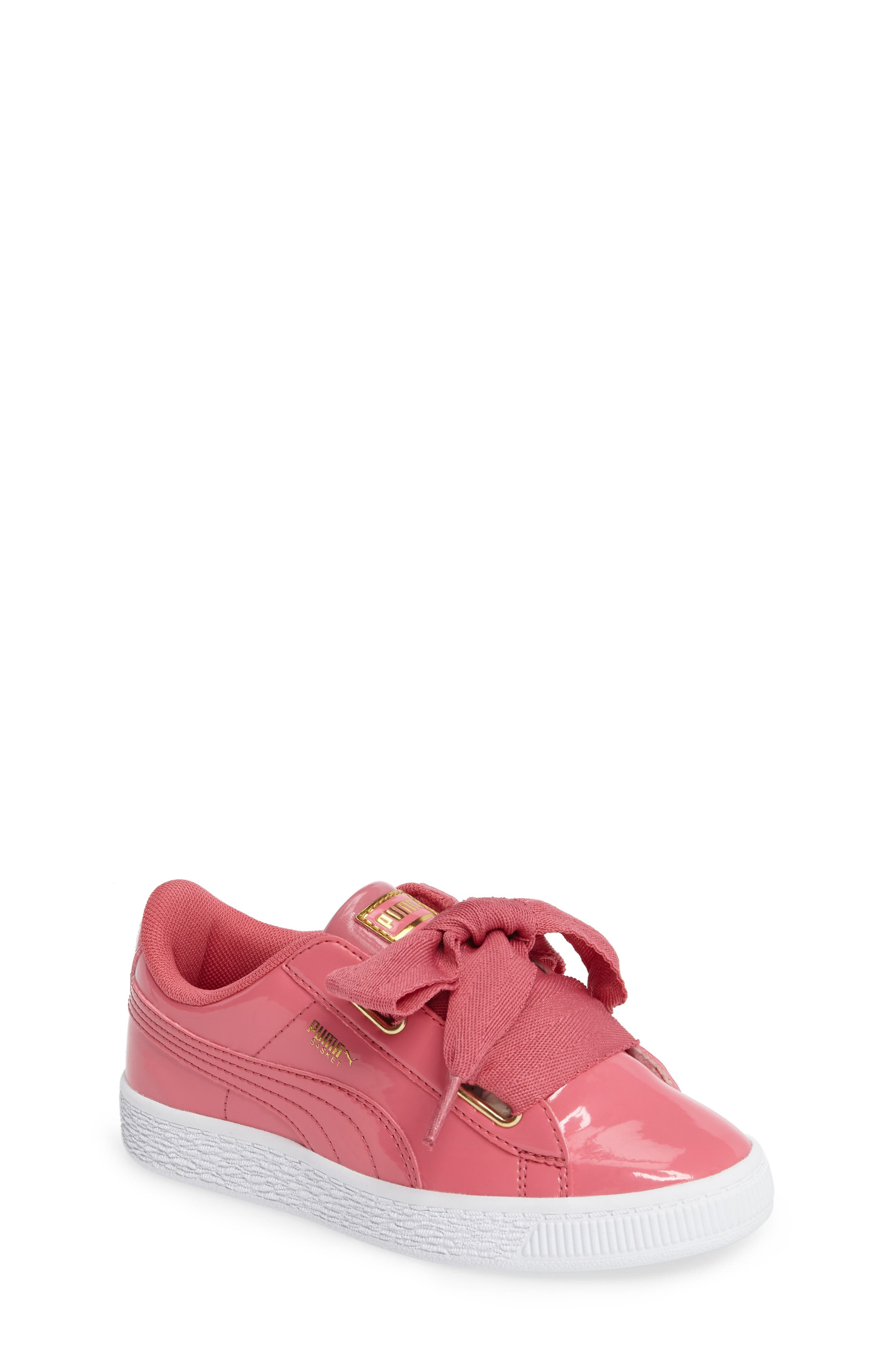 Basket Heart Sneaker,                             Main thumbnail 1, color,                             Rapture Rose/ Puma Team Gold