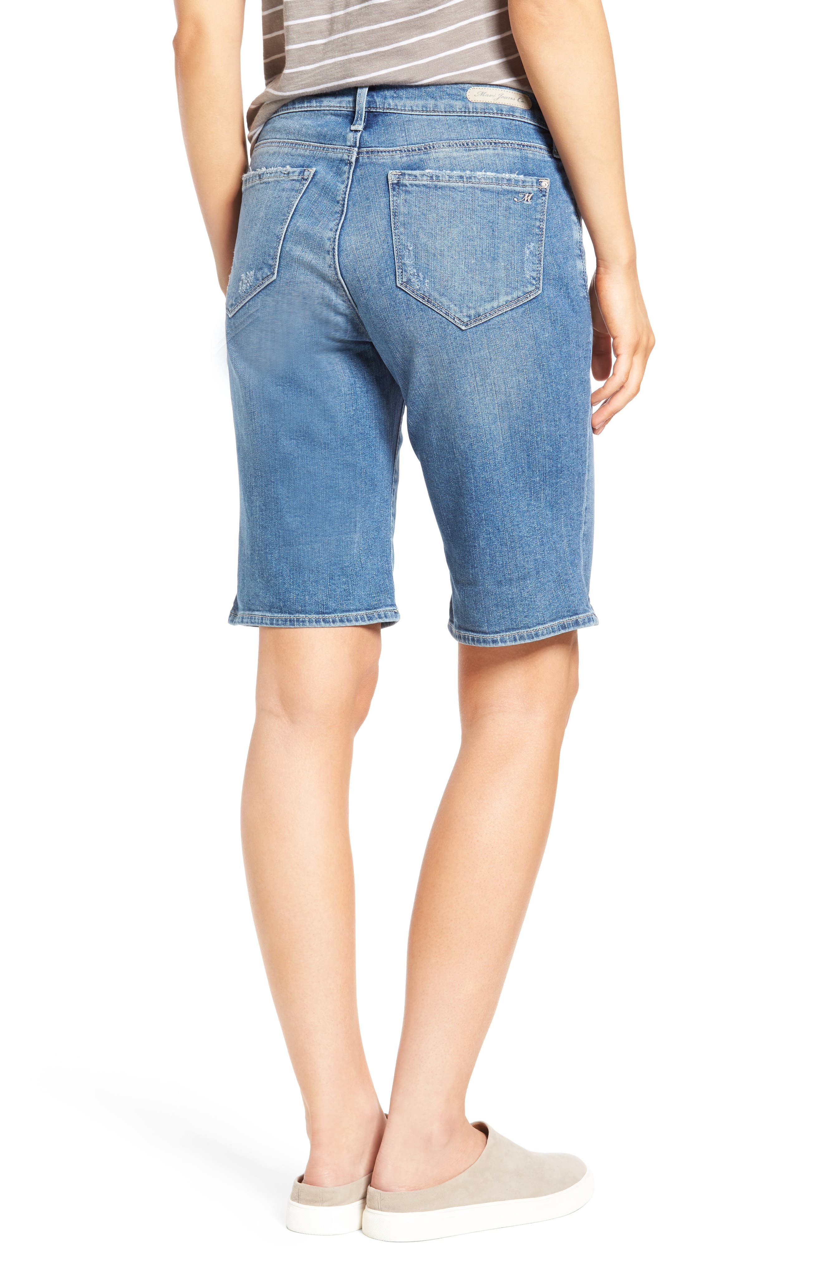 Alexis Ripped Denim Shorts,                             Alternate thumbnail 2, color,                             Mid Ripped