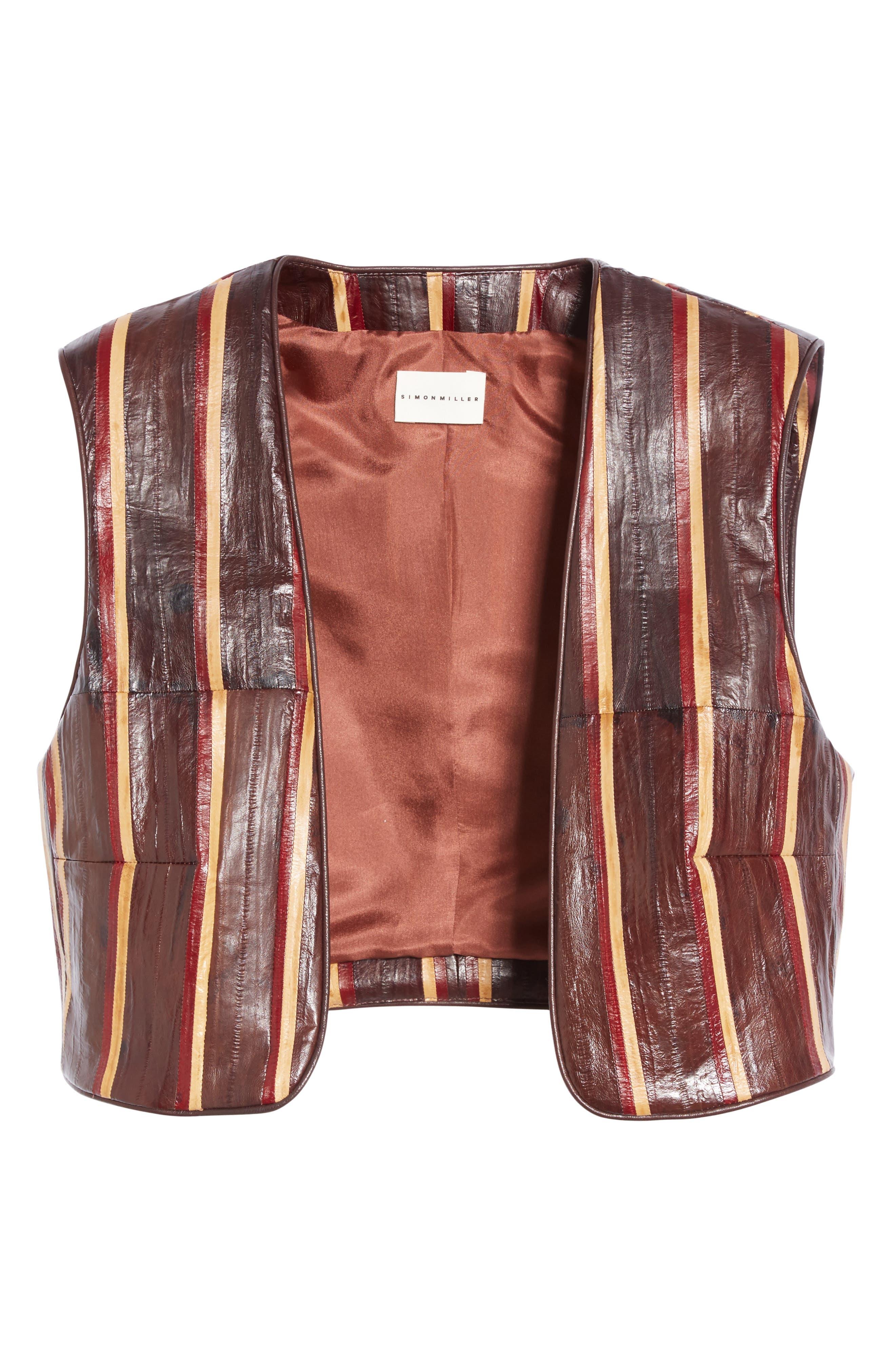 Striped Genuine Eelskin Vest,                             Alternate thumbnail 4, color,                             Oxblood