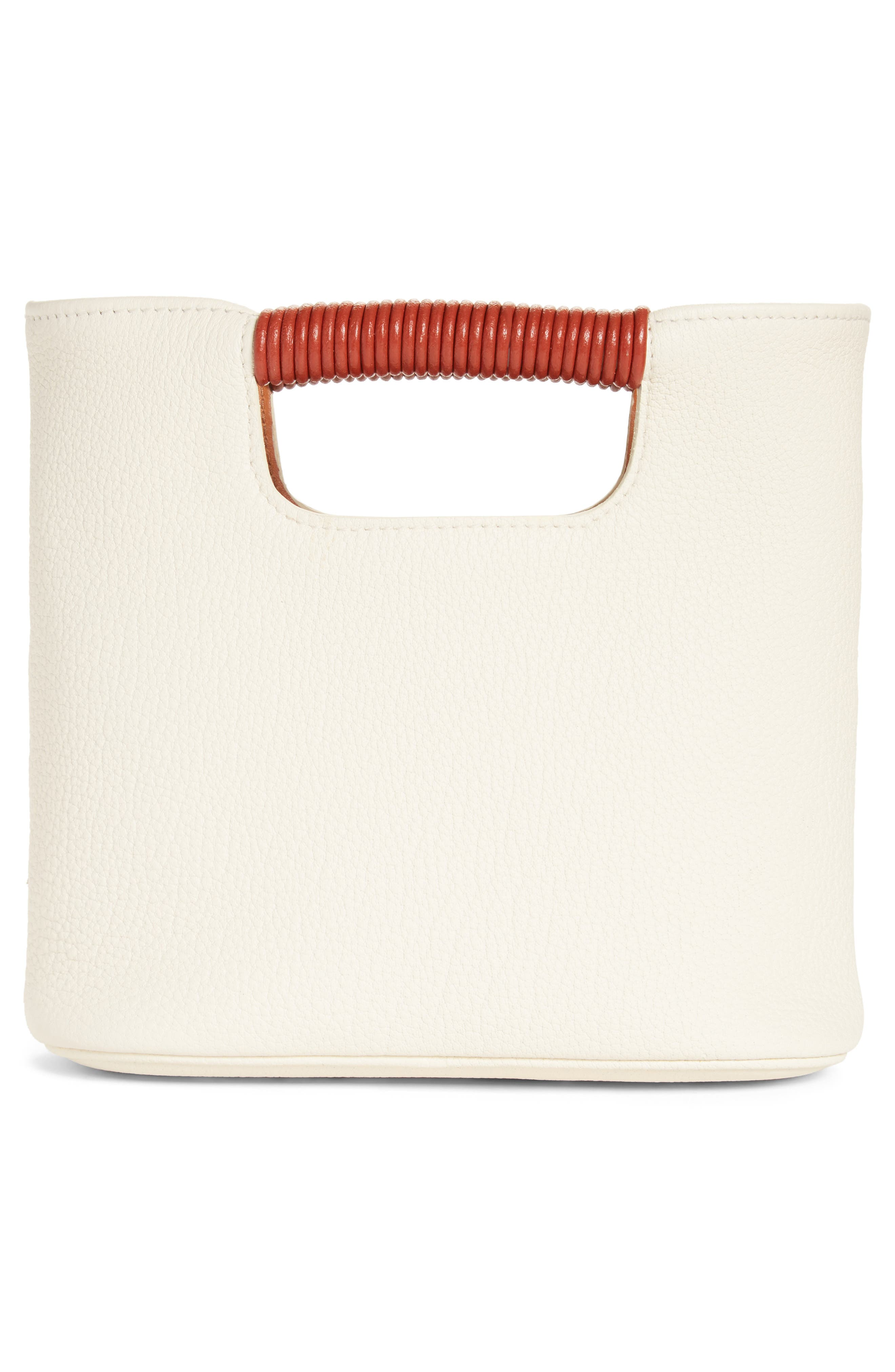 Mini Birch Leather Tote,                             Alternate thumbnail 3, color,                             Ivory