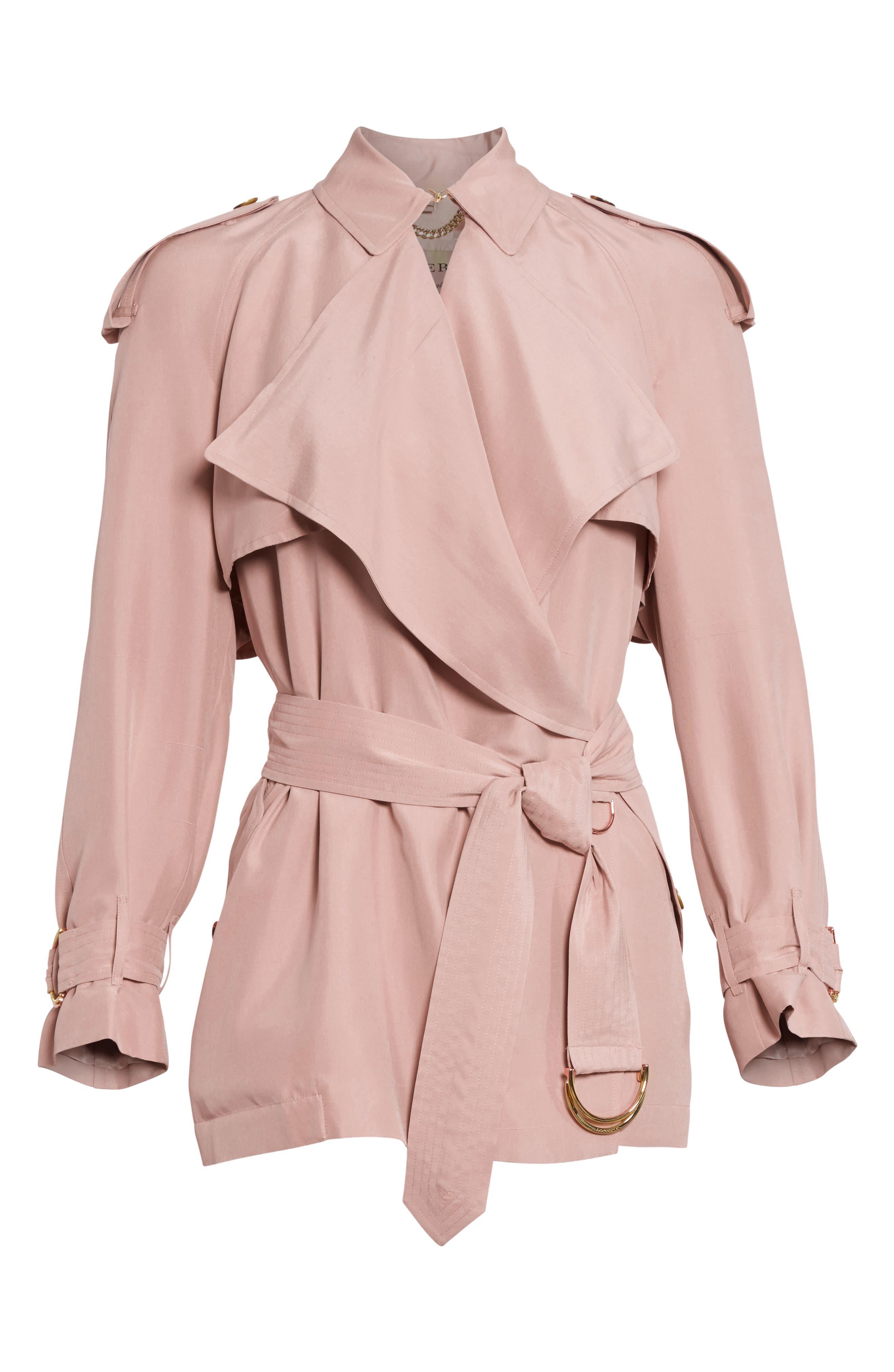 Alternate Image 4  - Burberry Sanbridge Silk Wrap Coat