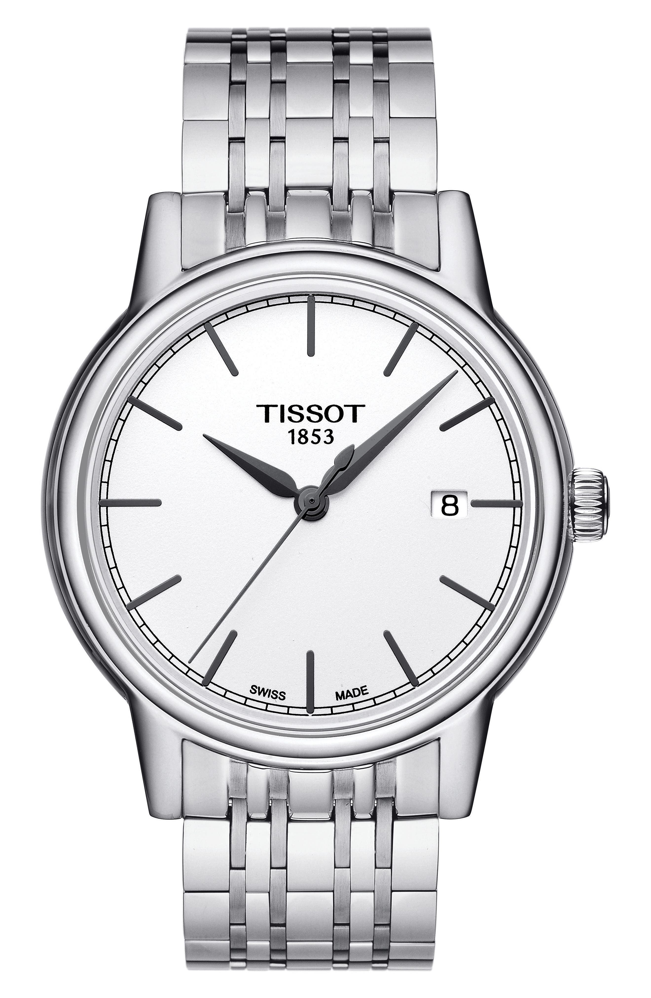 Carson Bracelet Watch, 39mm,                             Main thumbnail 1, color,                             Silver/ White/ Silver