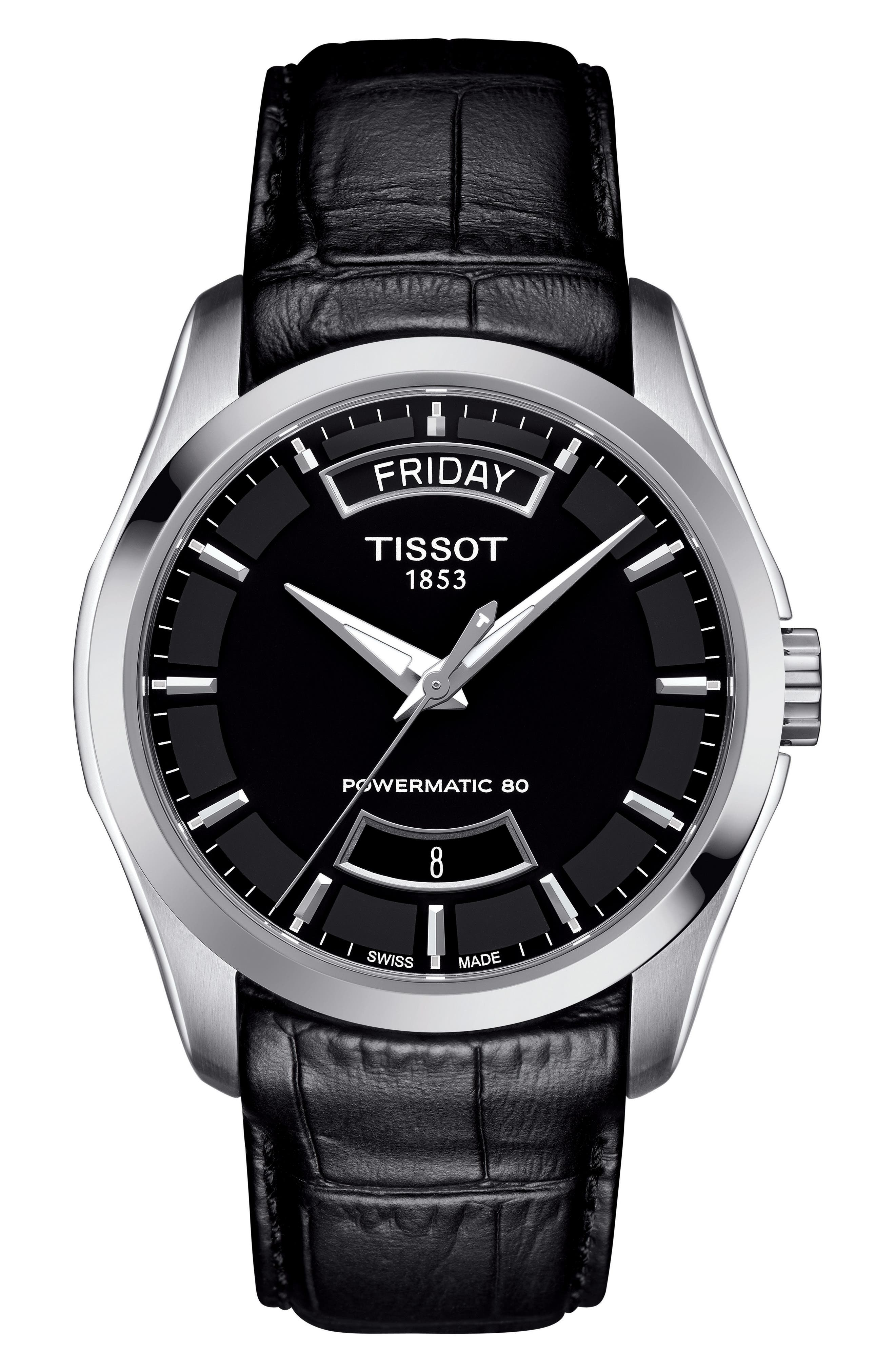 TISSOT Couturier Automatic Leather Strap Watch, 39mm