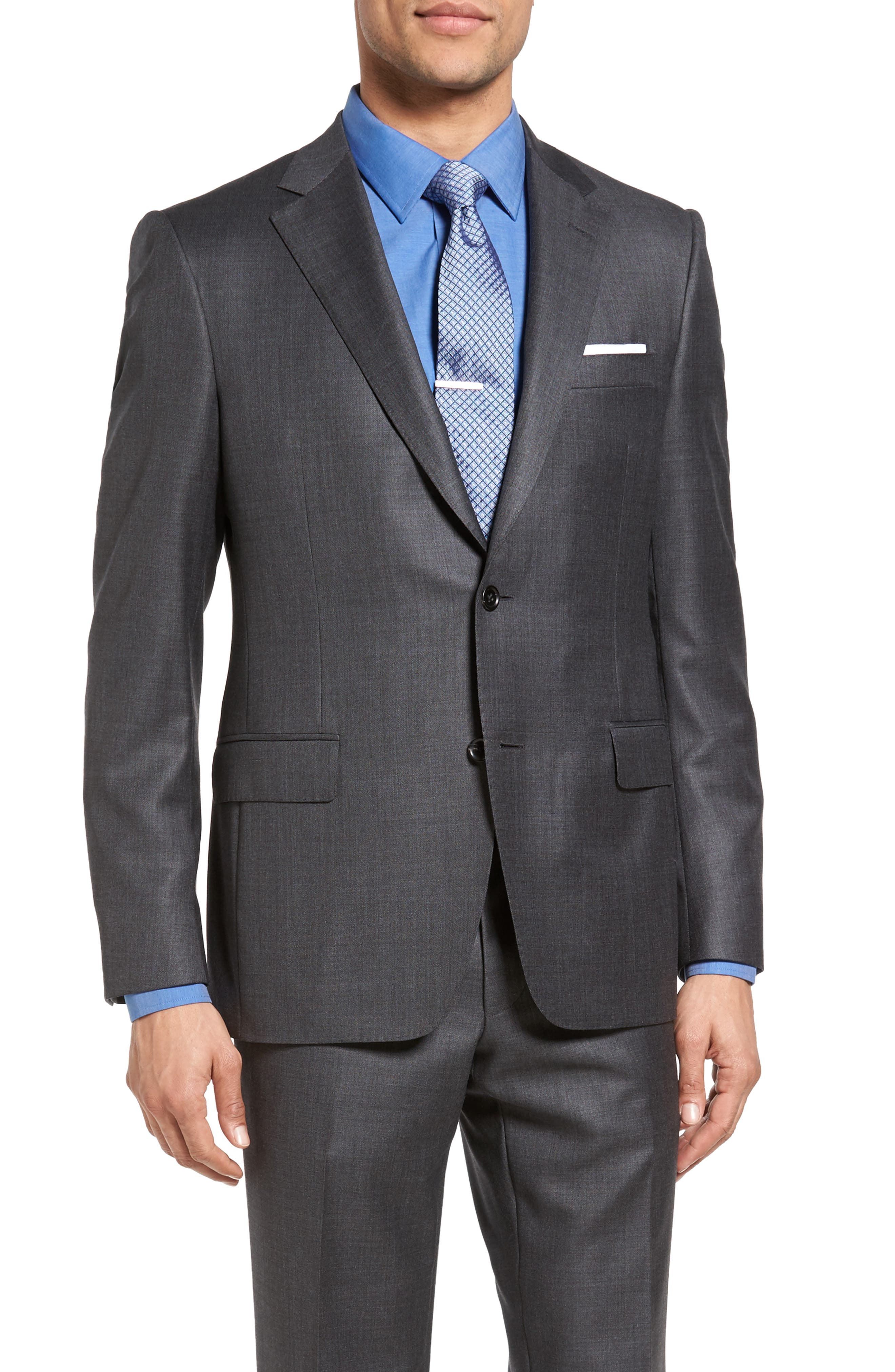 Beckett Classic Fit Sharkskin Wool Suit,                             Alternate thumbnail 5, color,                             Charcoal