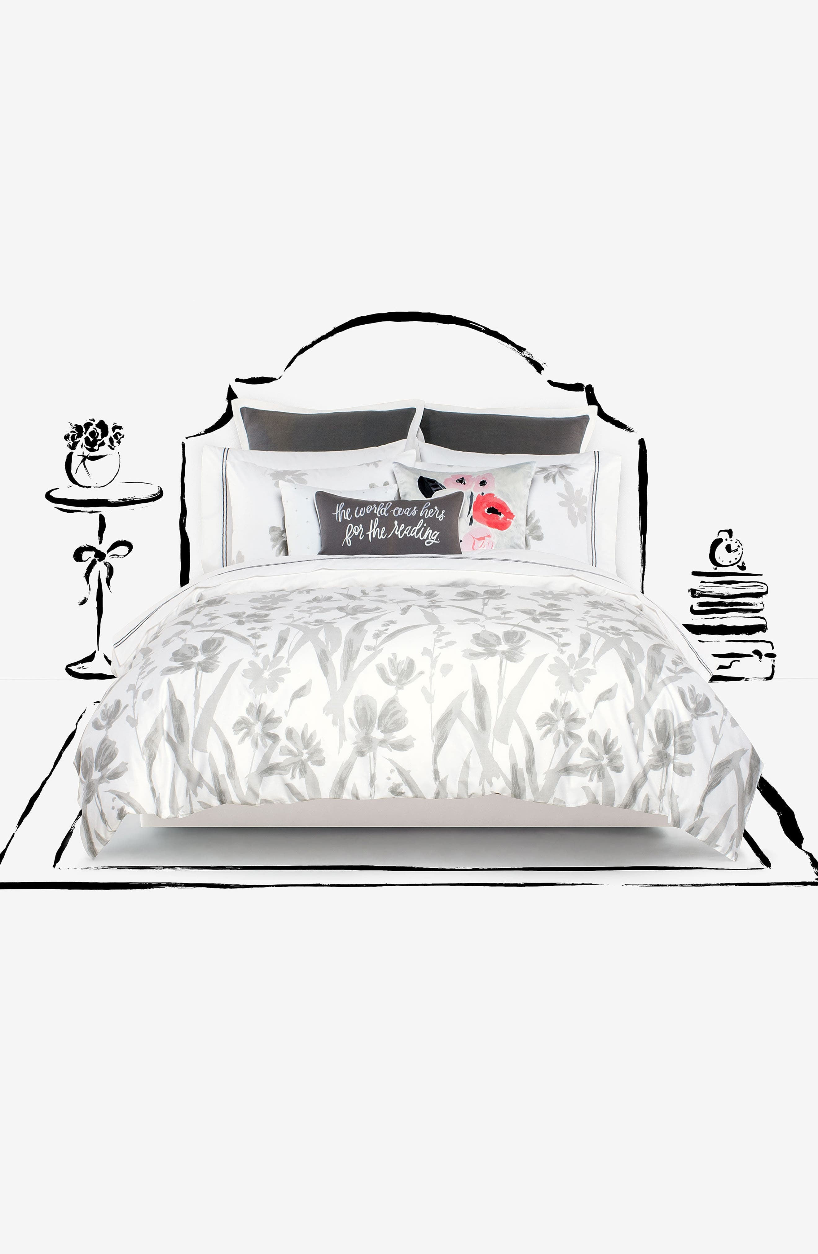 brushstroke garden comforter & sham set,                             Alternate thumbnail 3, color,                             Platinum