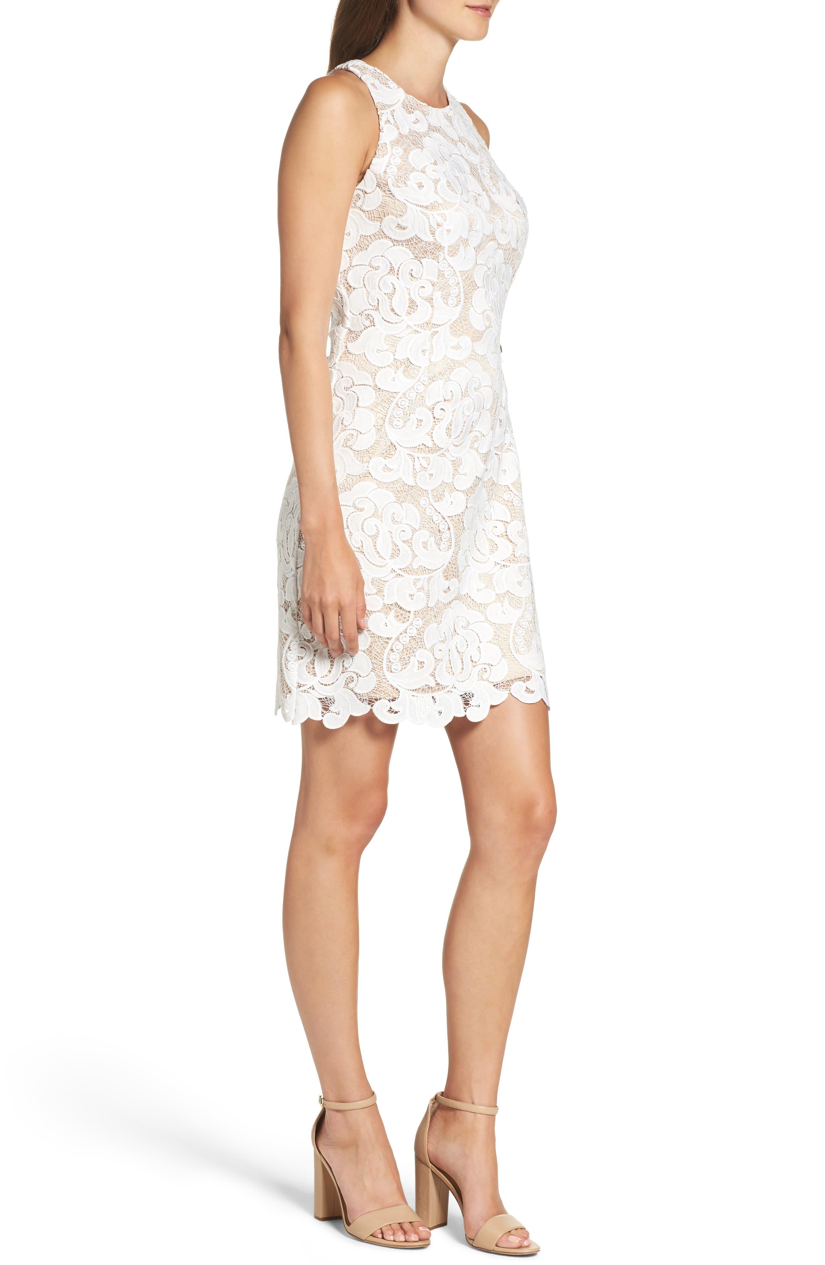Lace Sheath Dress,                             Alternate thumbnail 3, color,                             Ivory