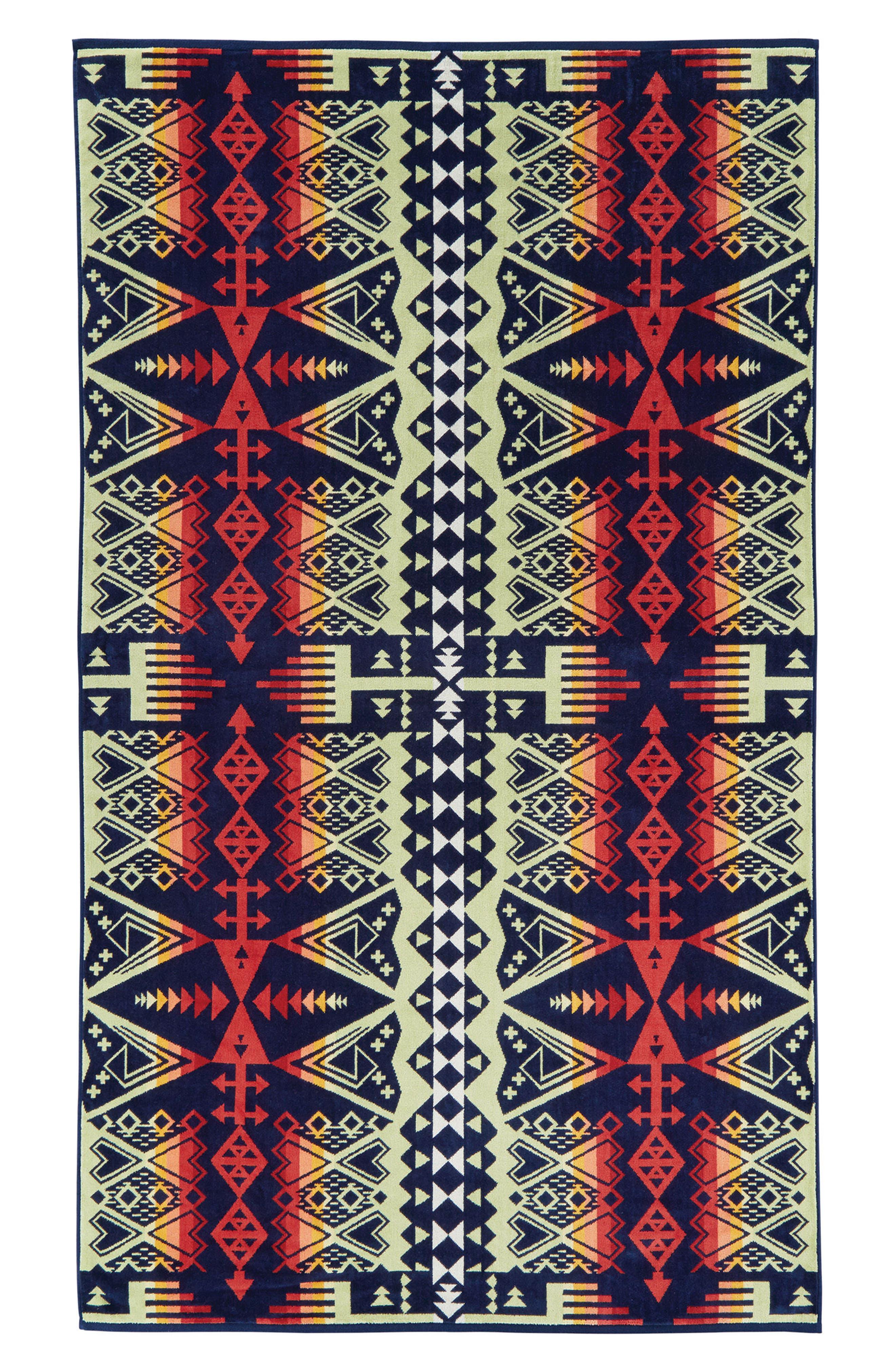 Arrow Revival Jacquard Towel,                             Main thumbnail 1, color,                             Navy
