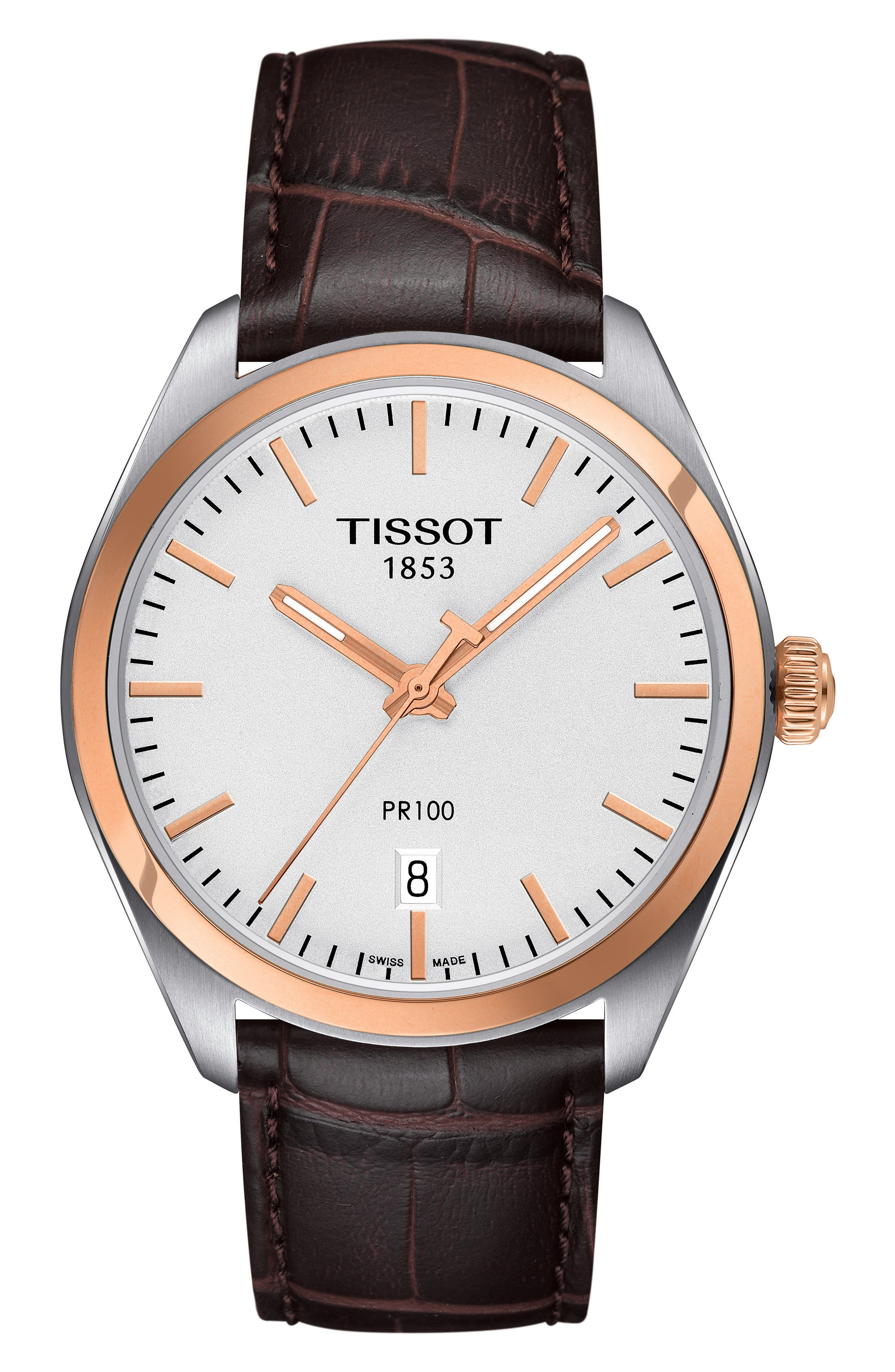 1853 Leather Strap Watch, 39mm,                             Main thumbnail 1, color,                             Brown/ Silver/ Rose Gold