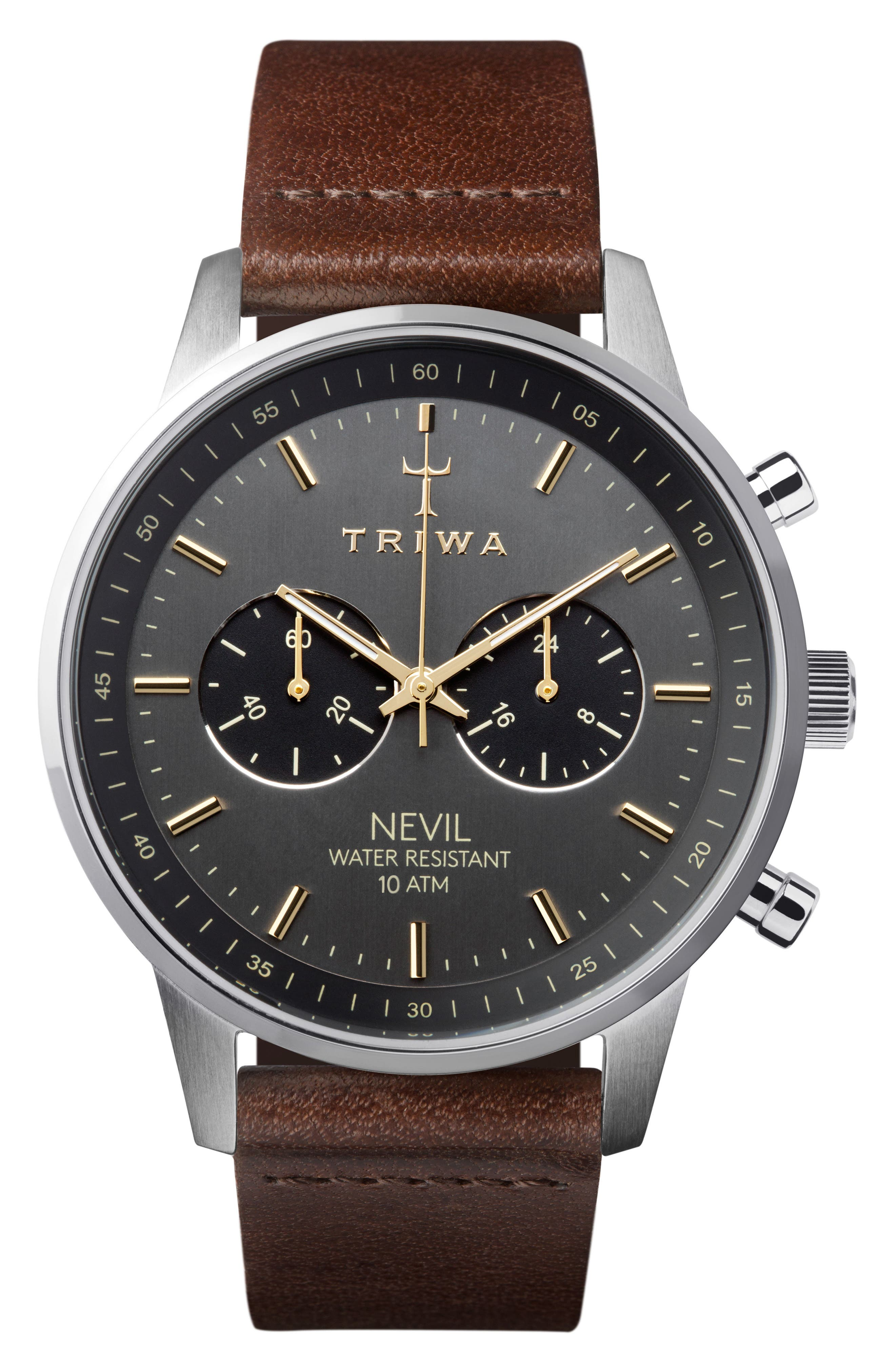 Smoky Nevil Chronograph Leather Strap Watch, 42mm,                         Main,                         color, Brown/ Grey/ Silver