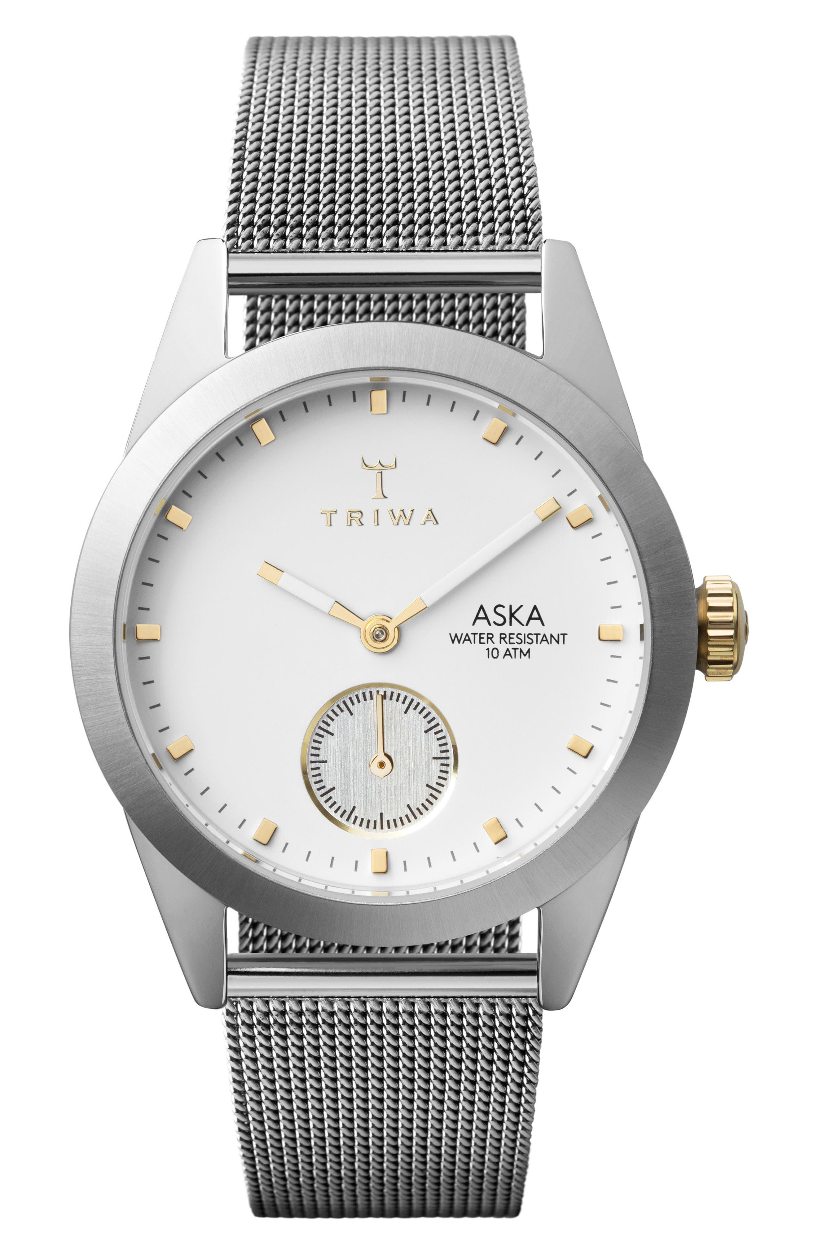 Snow Aska Mesh Strap Watch, 32mm,                         Main,                         color, Silver/ White/ Silver