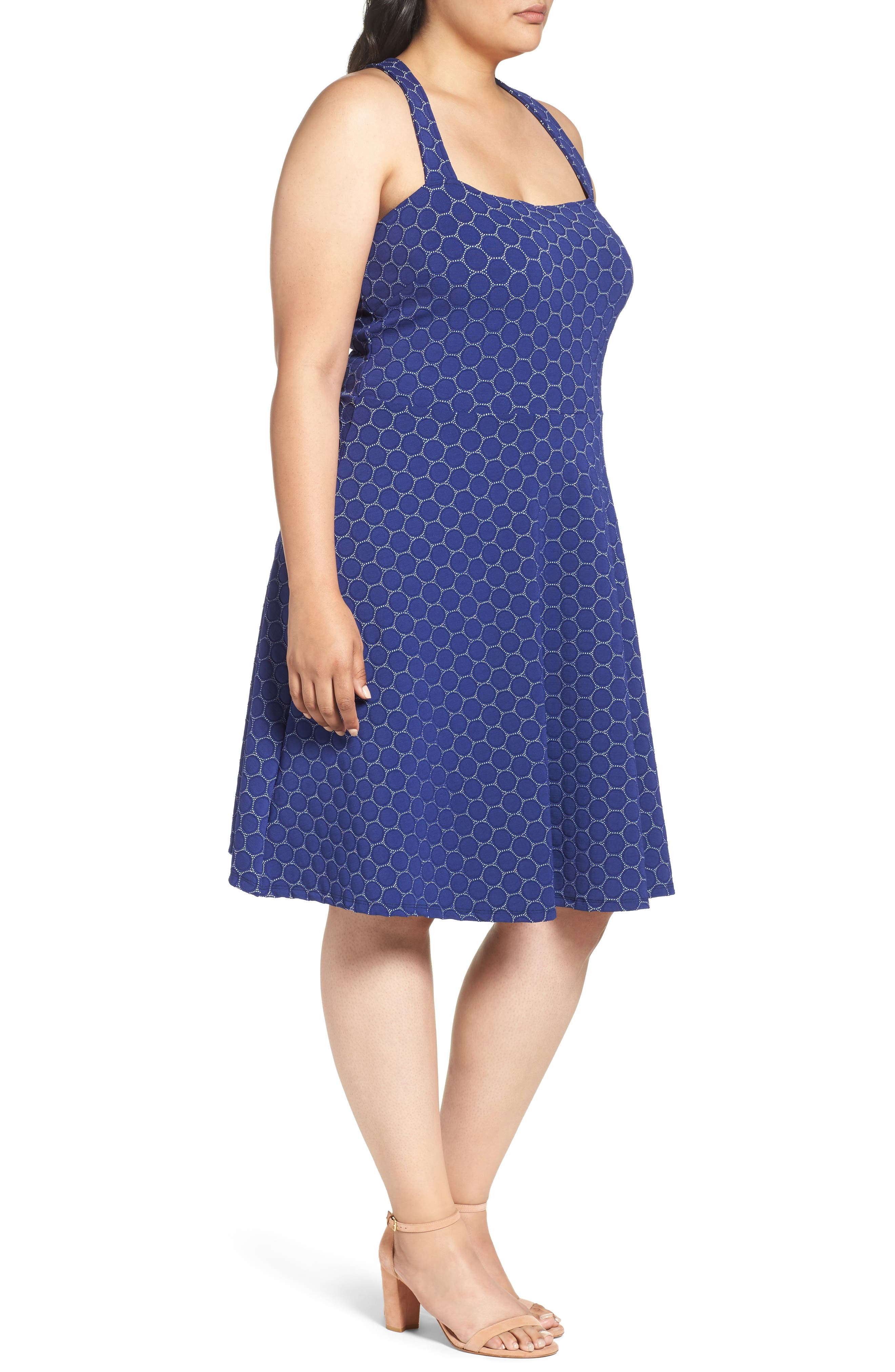 Fit & Flare Dress,                             Alternate thumbnail 3, color,                             Navy Cameo