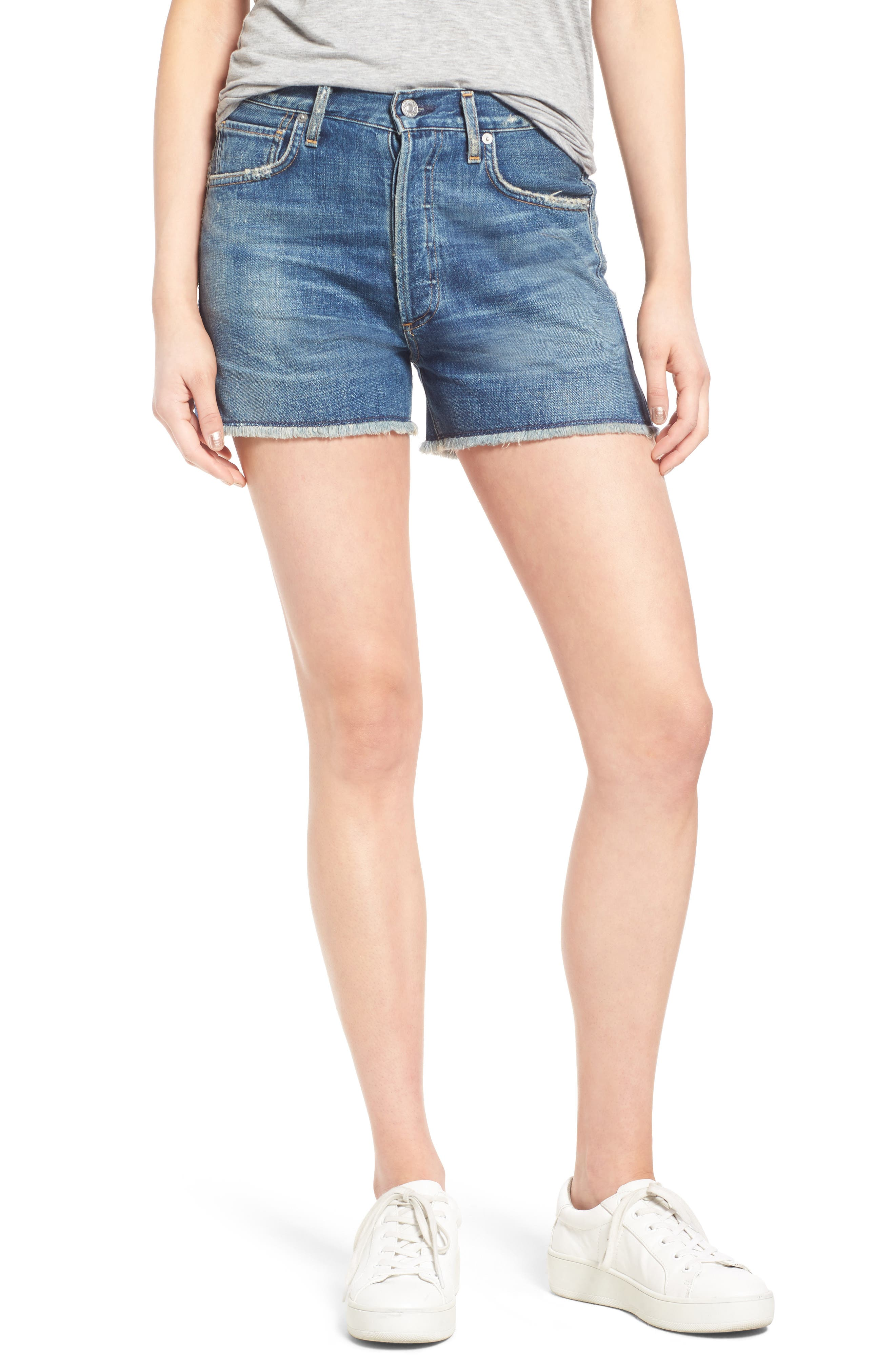 Alyx High Waist Cutoff Denim Shorts,                         Main,                         color, Teaser