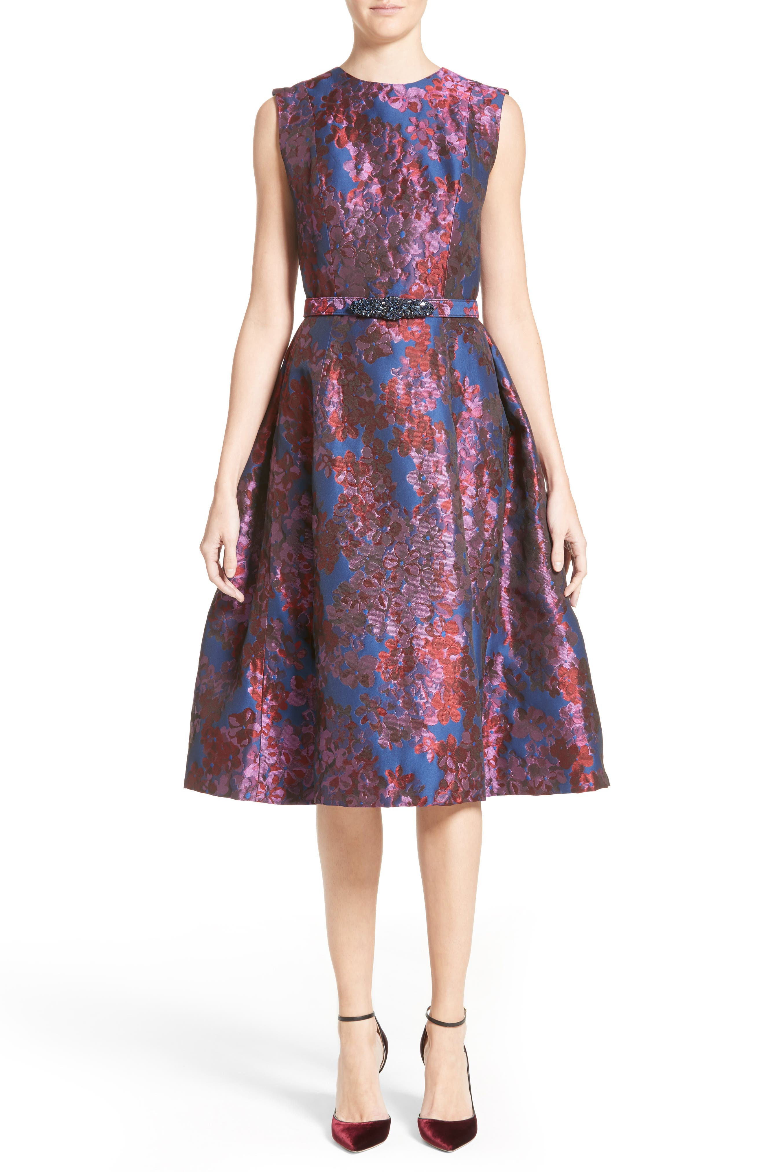Main Image - Badgley Mischka Couture Floral Jacquard Fit & Flare Dress (Nordstrom Exclusive)
