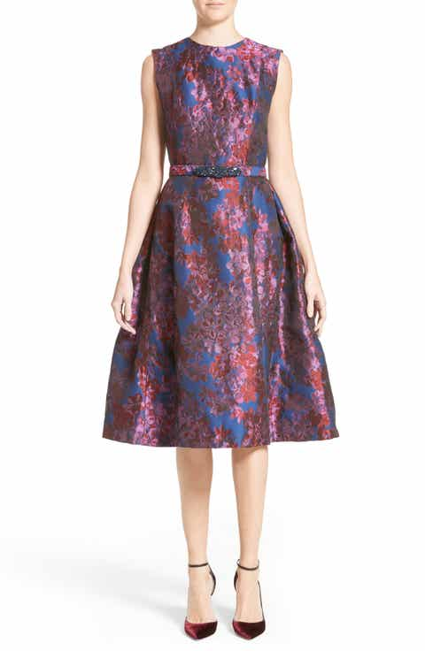 Badgley Mischka Couture Floral Jacquard Fit Flare Dress Nordstrom Exclusive