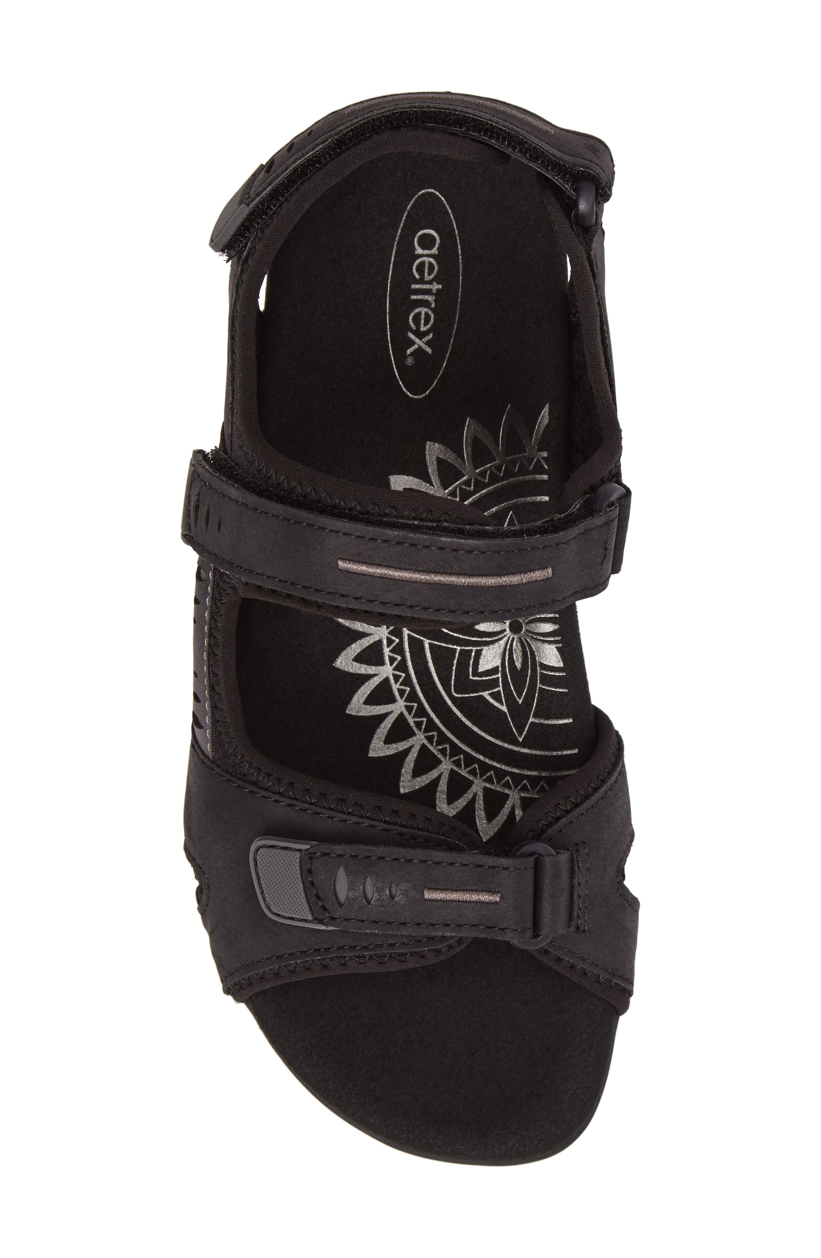 Bree Sport Sandal,                             Alternate thumbnail 4, color,                             Black Fabric