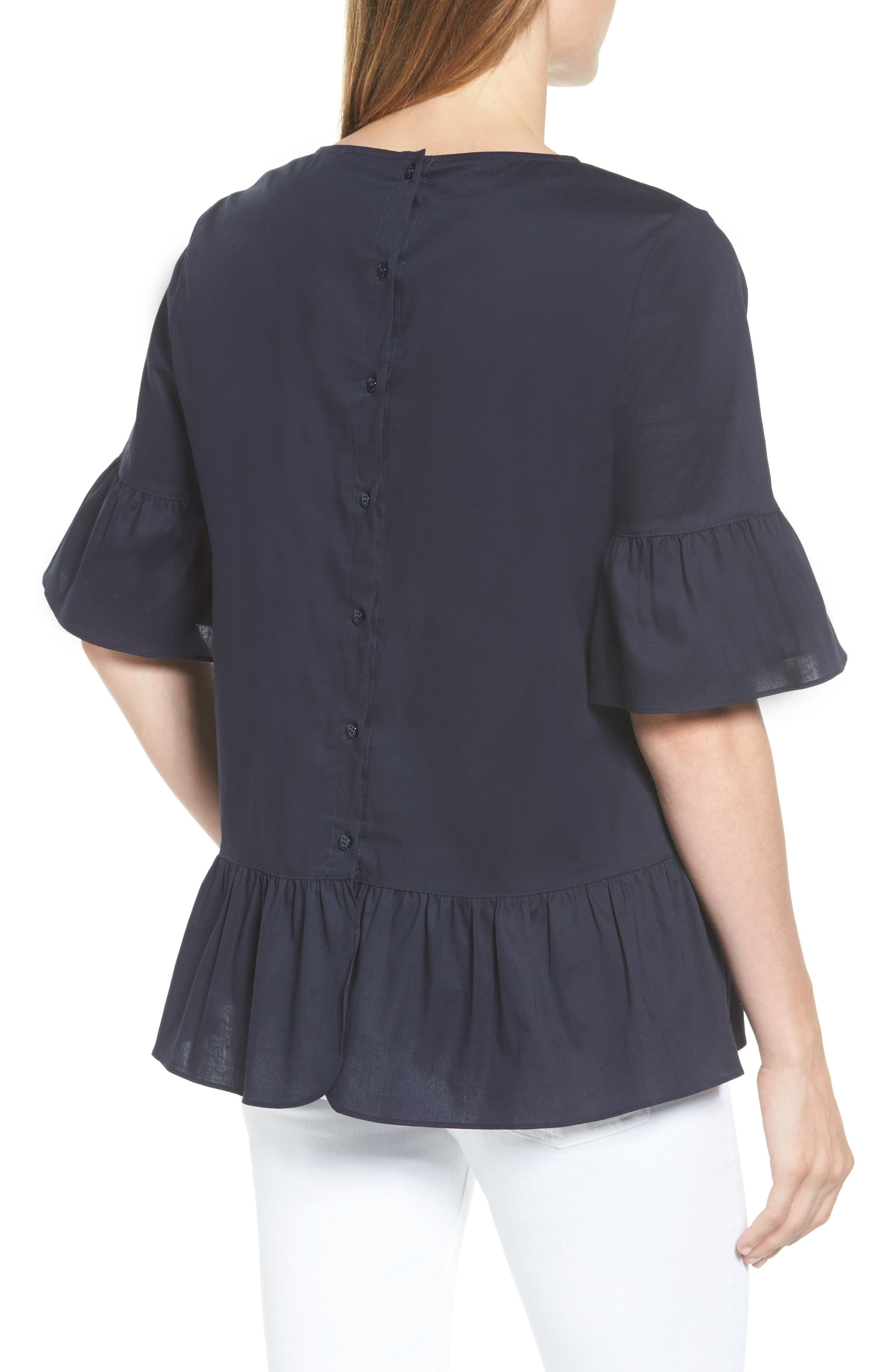 Back Button Ruffle Top,                             Alternate thumbnail 2, color,                             Navy