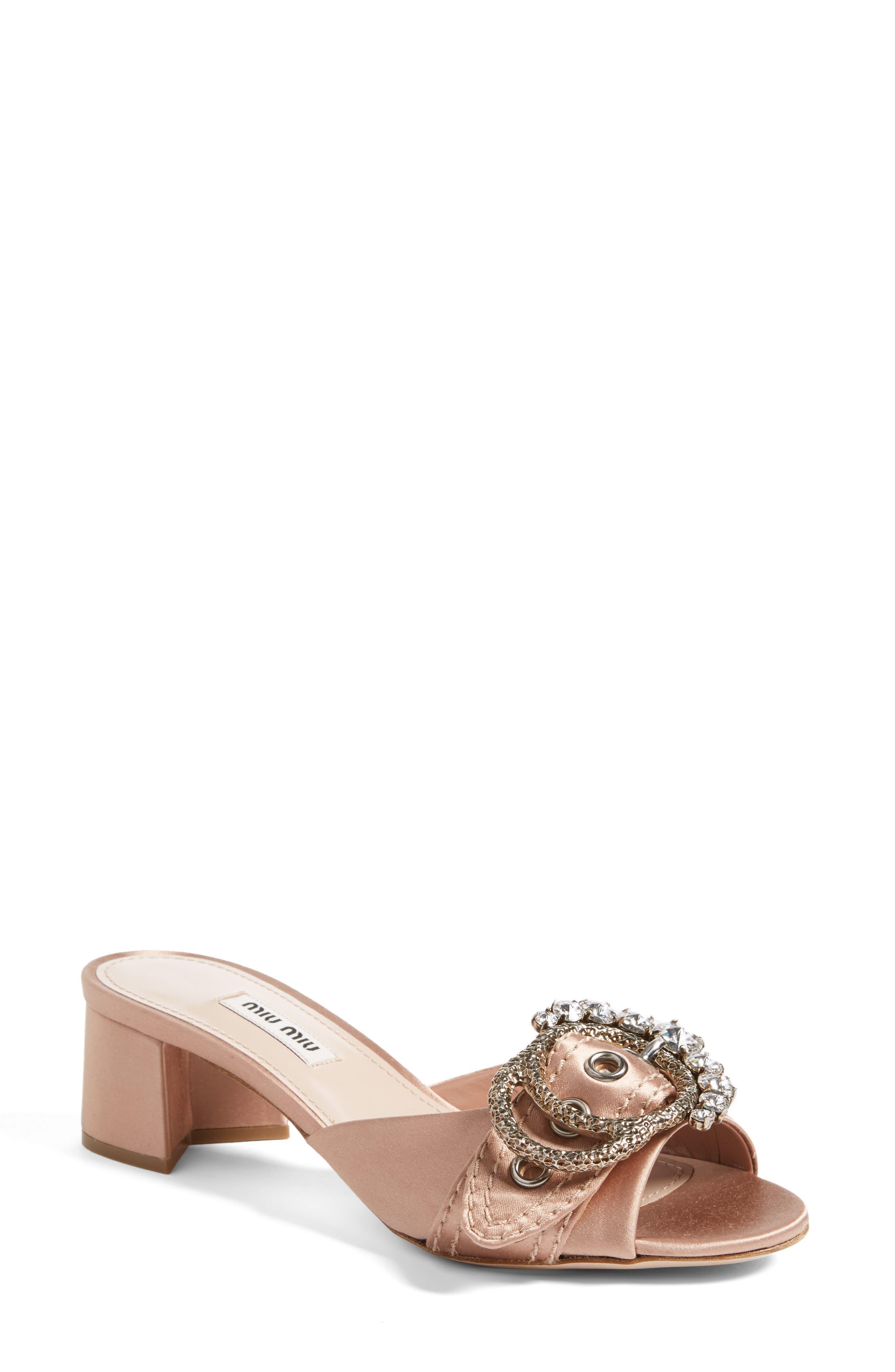 Miu Miu Jewel Buckle Sandal (Women)