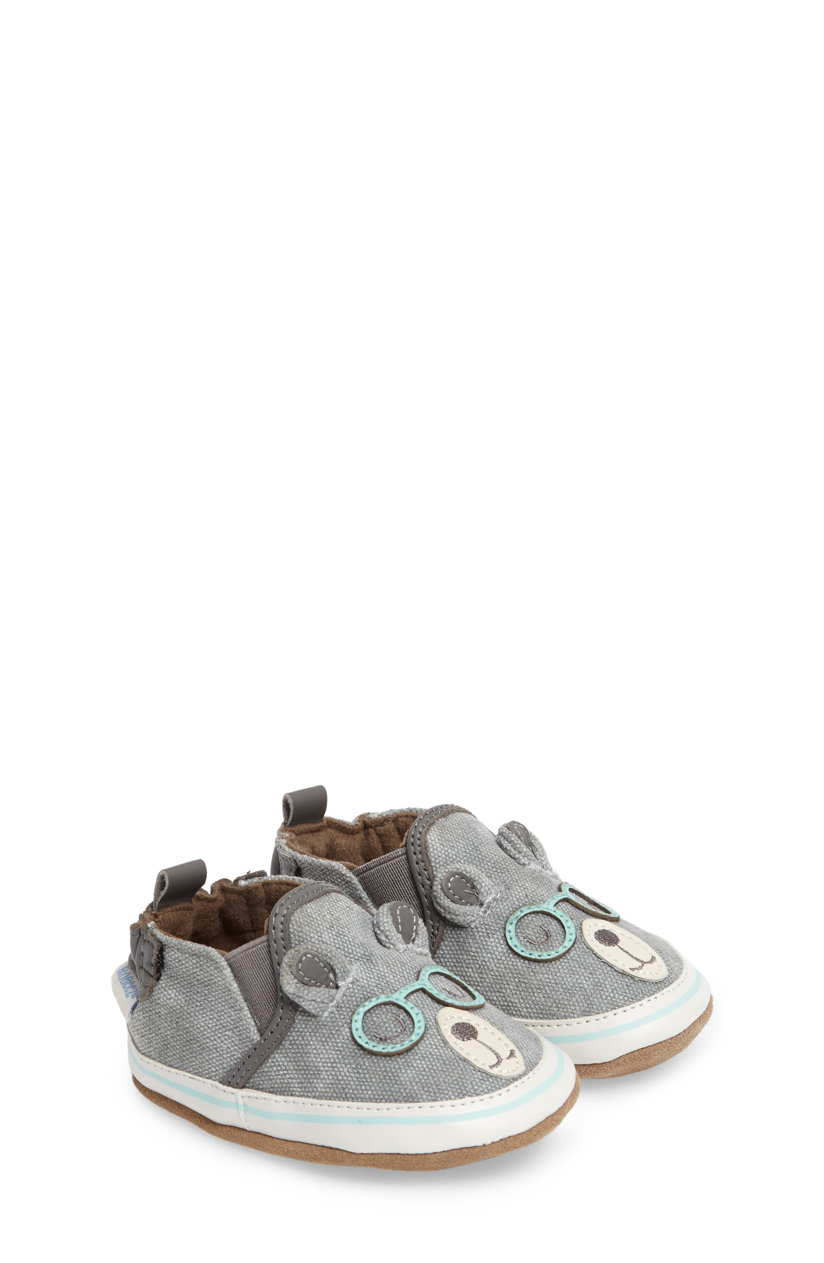 Alternate Image 1 Selected - Robeez® 'Brainy Bear' Crib Shoe (Baby & Walker)