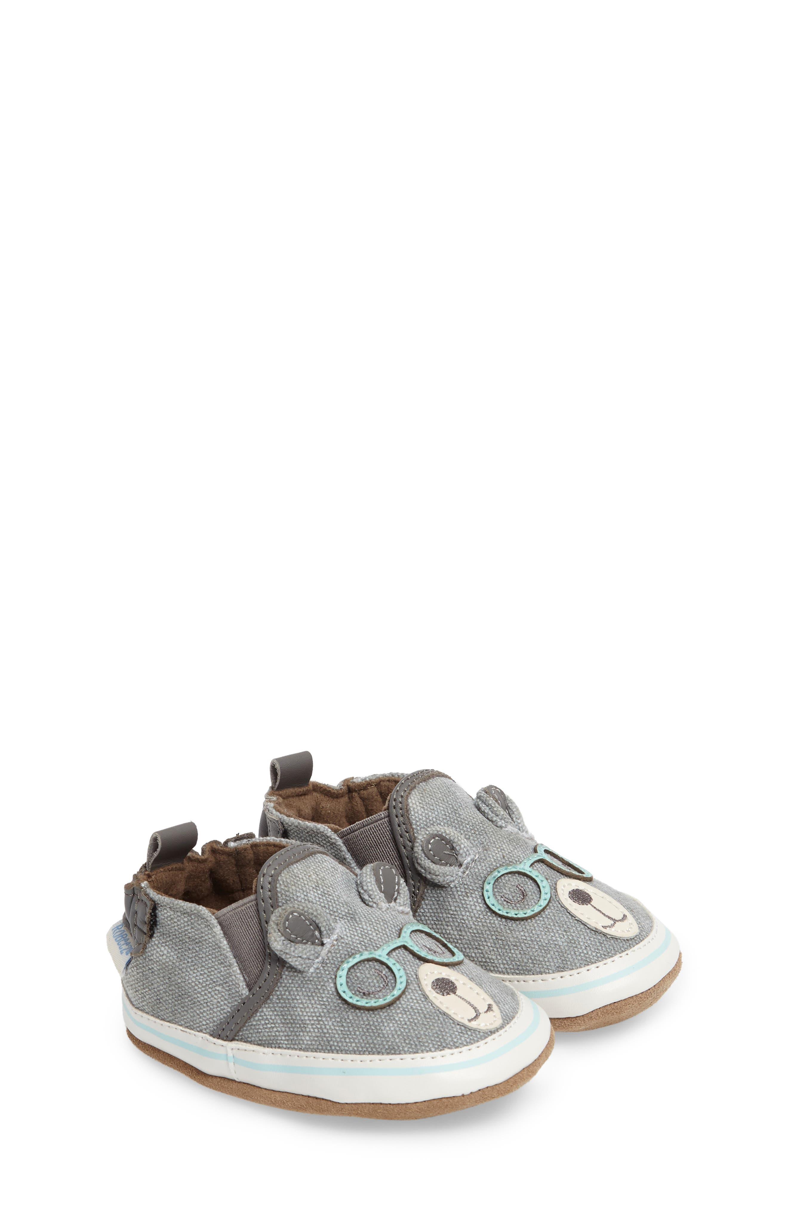 Main Image - Robeez® 'Brainy Bear' Crib Shoe (Baby & Walker)