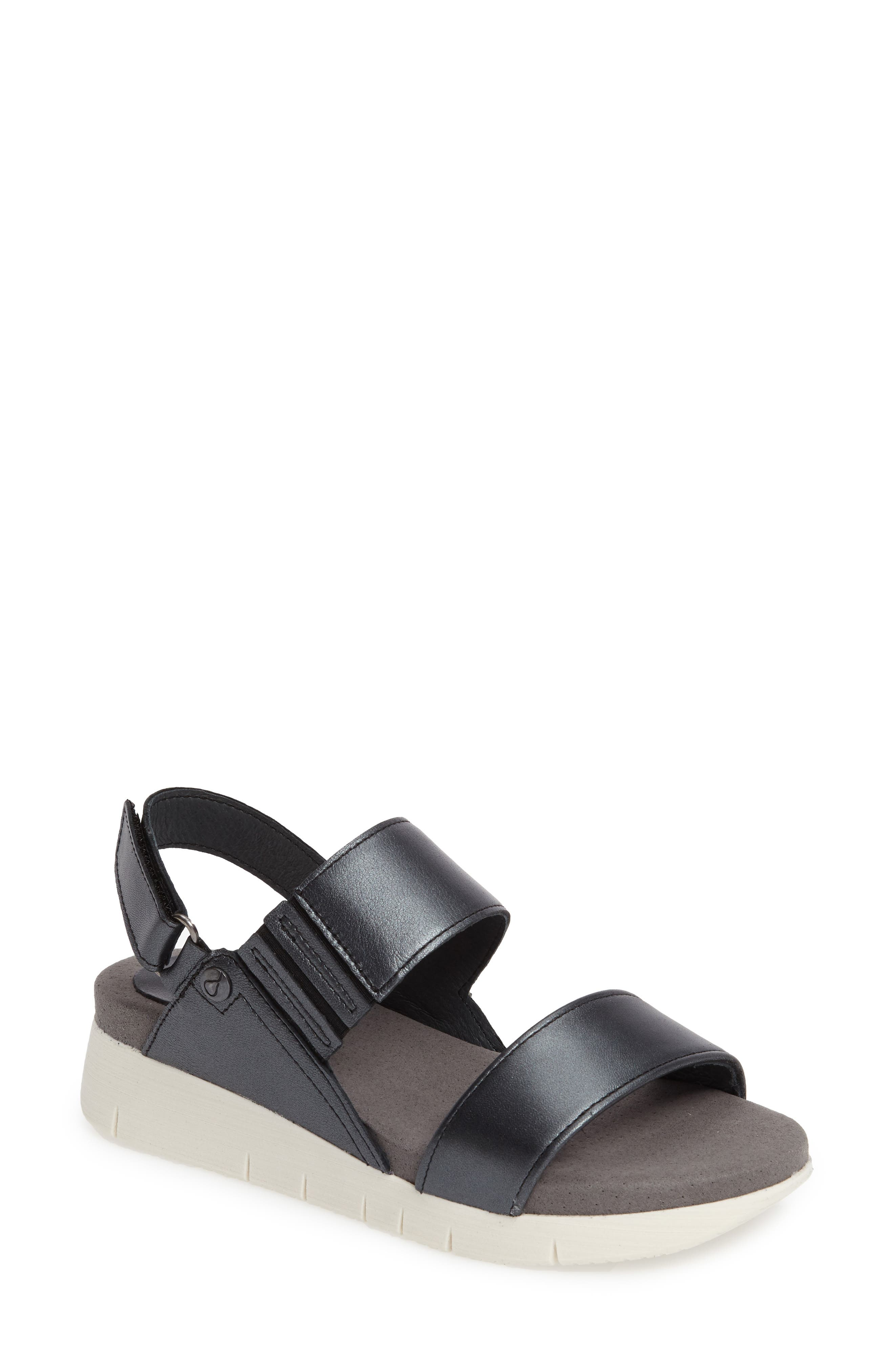 Payge Wedge Sandal,                             Main thumbnail 1, color,                             Black Leather