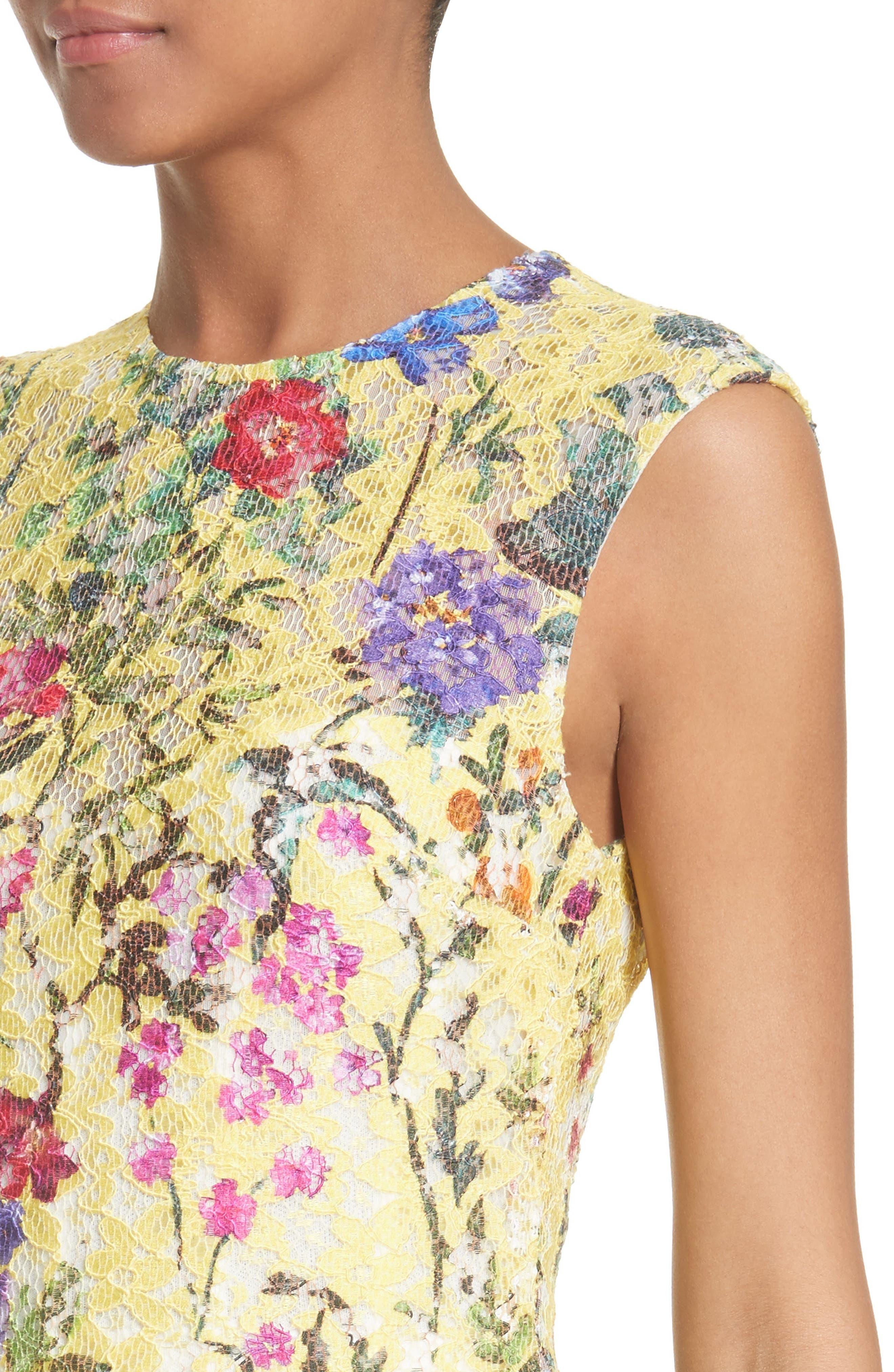 Alternate Image 5  - Monique Lhuillier Garden Print Lace Fit & Flare Dress
