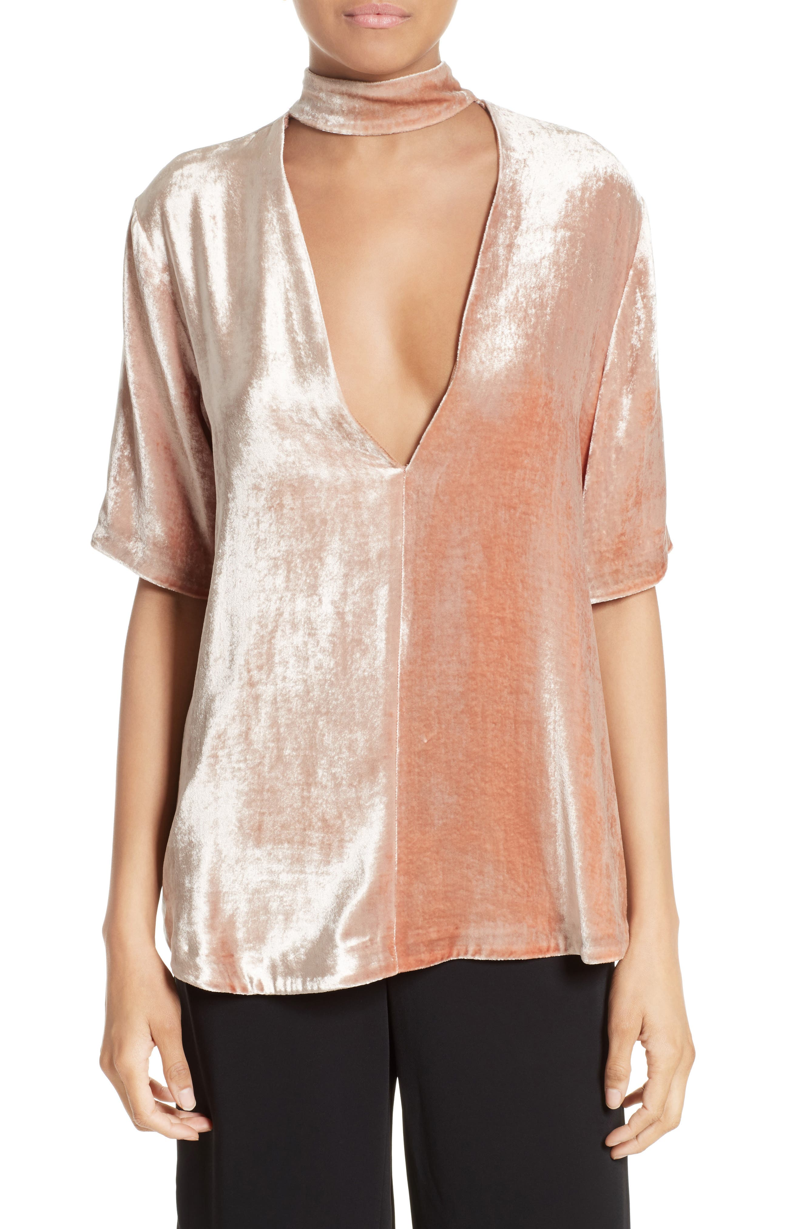 Blaise Velvet Choker Top,                         Main,                         color, Pink