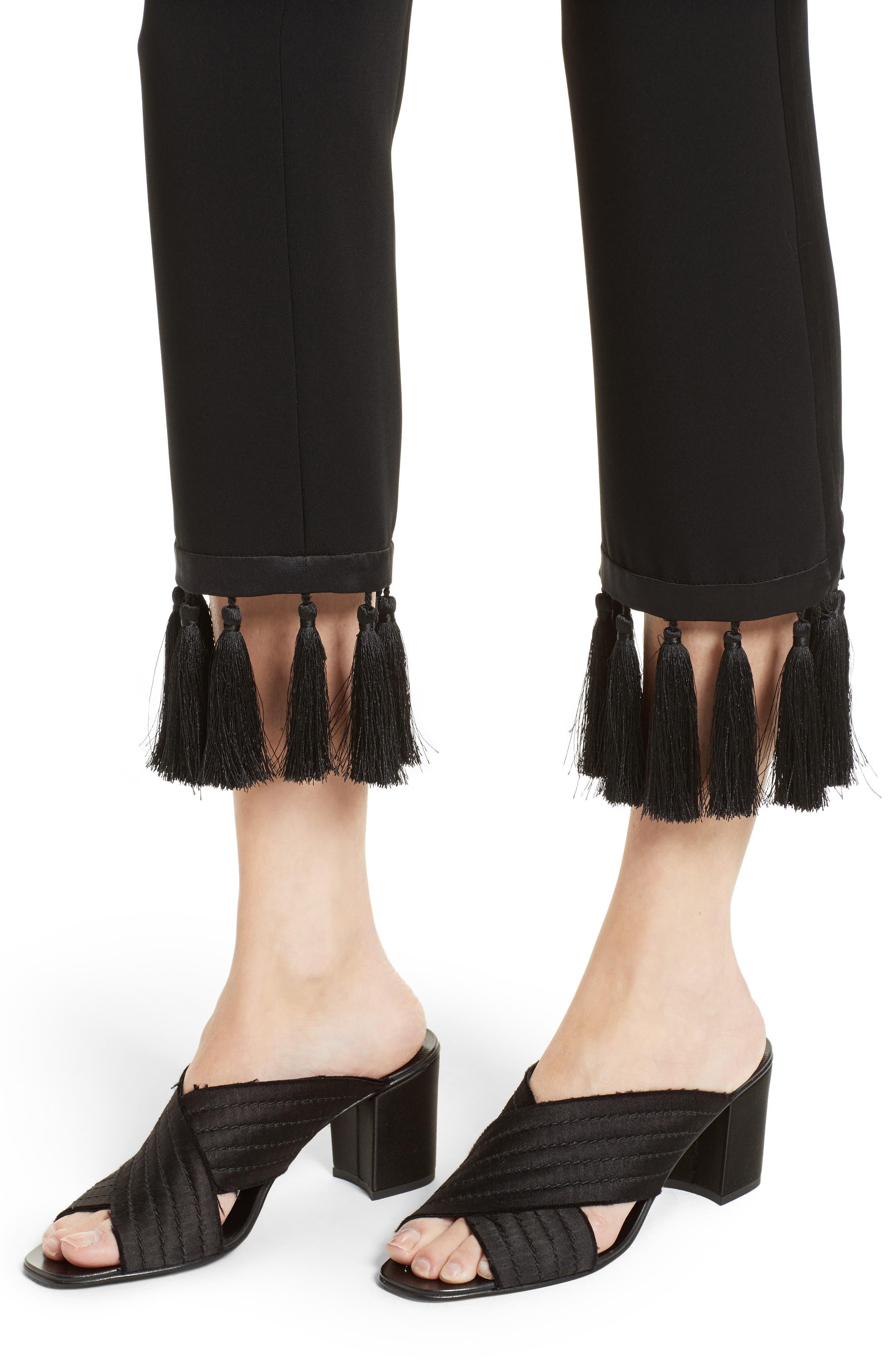 Tash Tassel Crepe Pants,                             Alternate thumbnail 5, color,                             Black