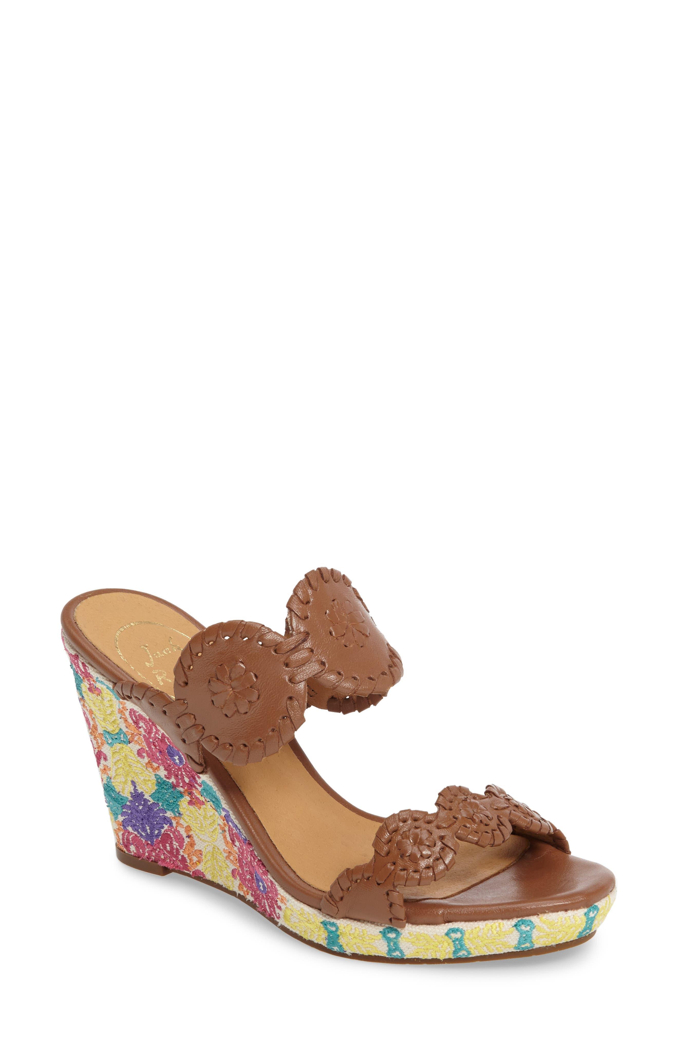 Livvy Wedge Slide Sandal,                             Main thumbnail 1, color,                             Cognac Leather