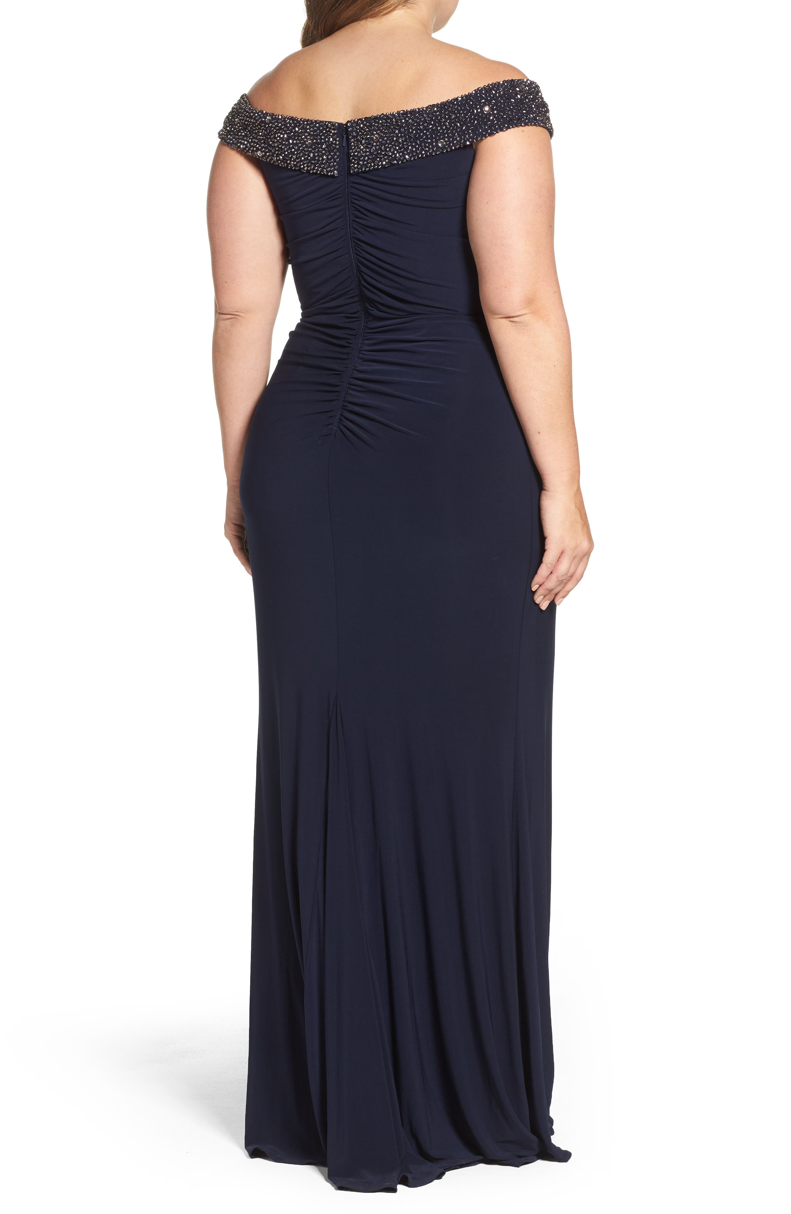 Alternate Image 2  - Xscape Embellished Off the Shoulder Gown (Plus Size)