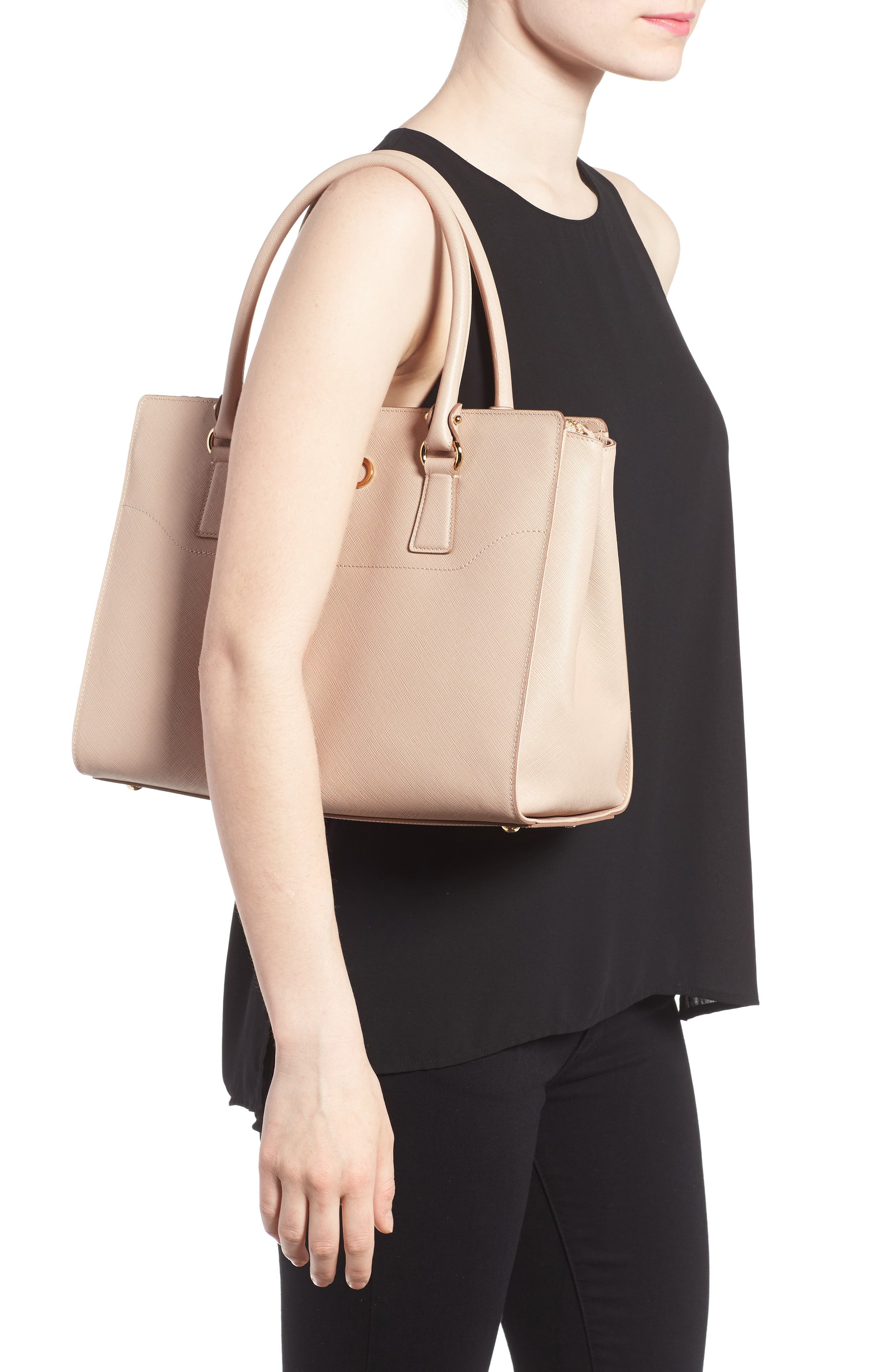 Saffiano Leather Tote,                             Alternate thumbnail 2, color,                             New Bisque Macaron