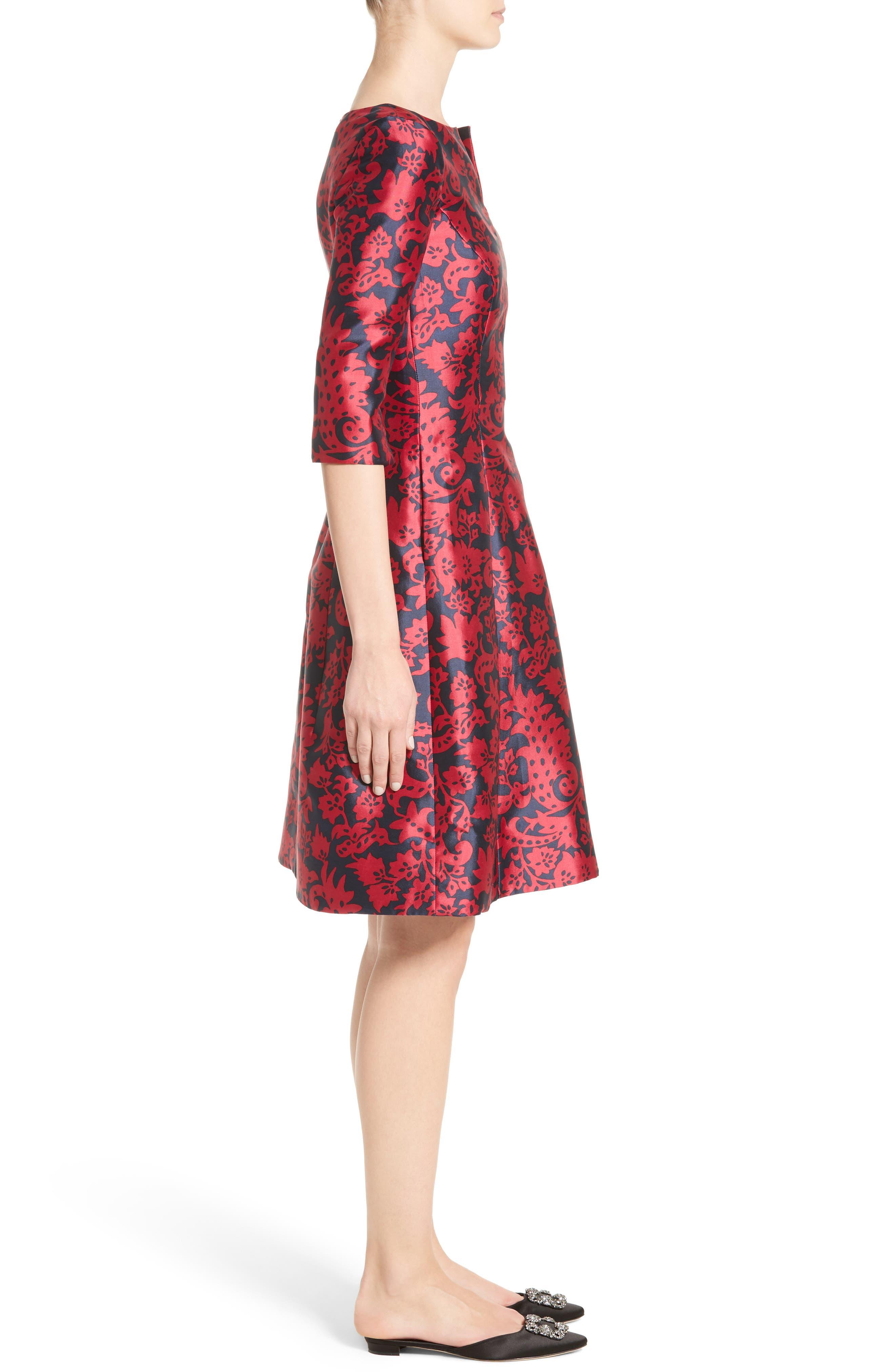 Print Mikado Fit & Flare Dress,                             Alternate thumbnail 6, color,                             Navy/ Garnet