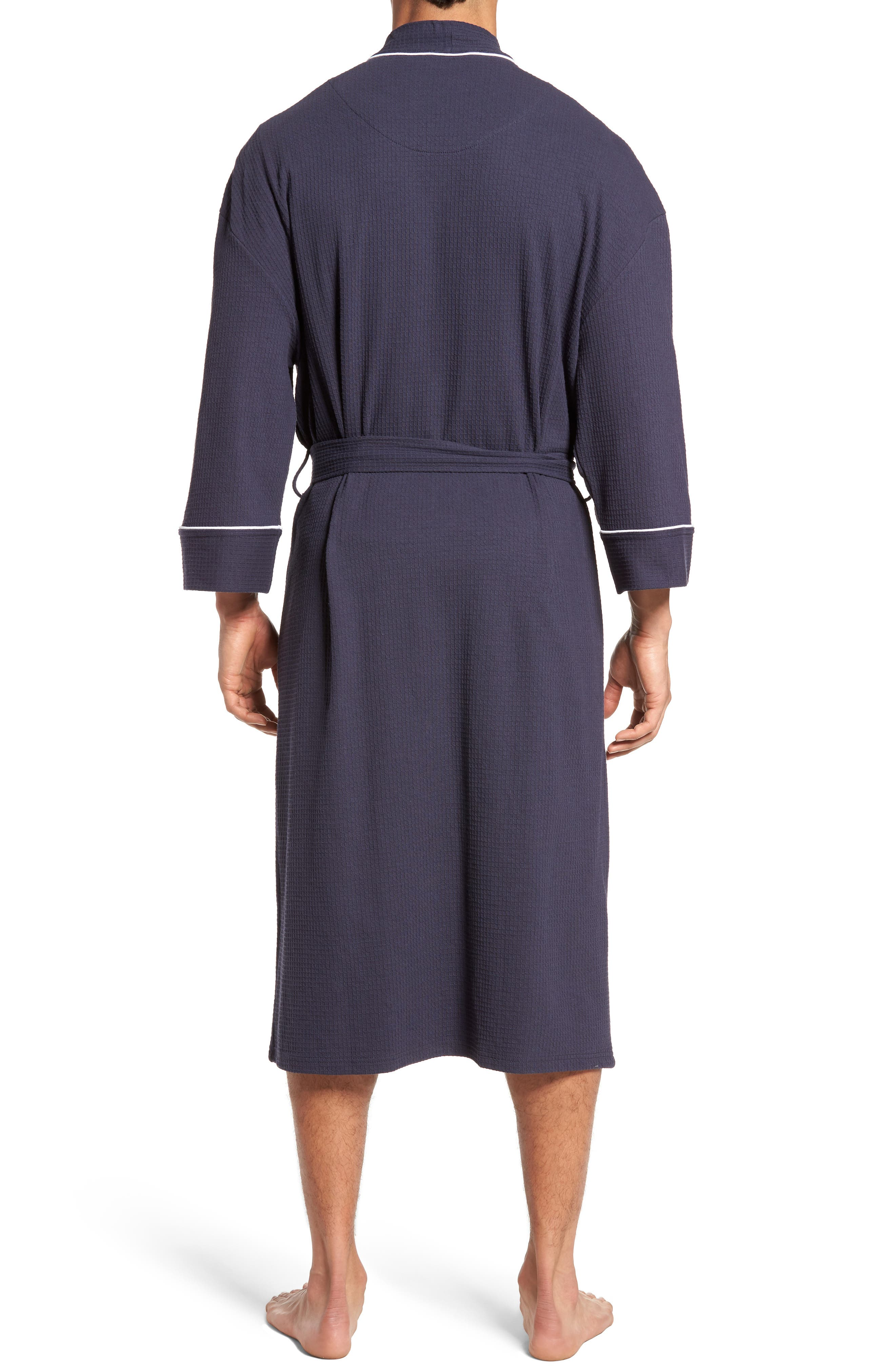 Waffle Knit Robe,                             Alternate thumbnail 2, color,                             Navy
