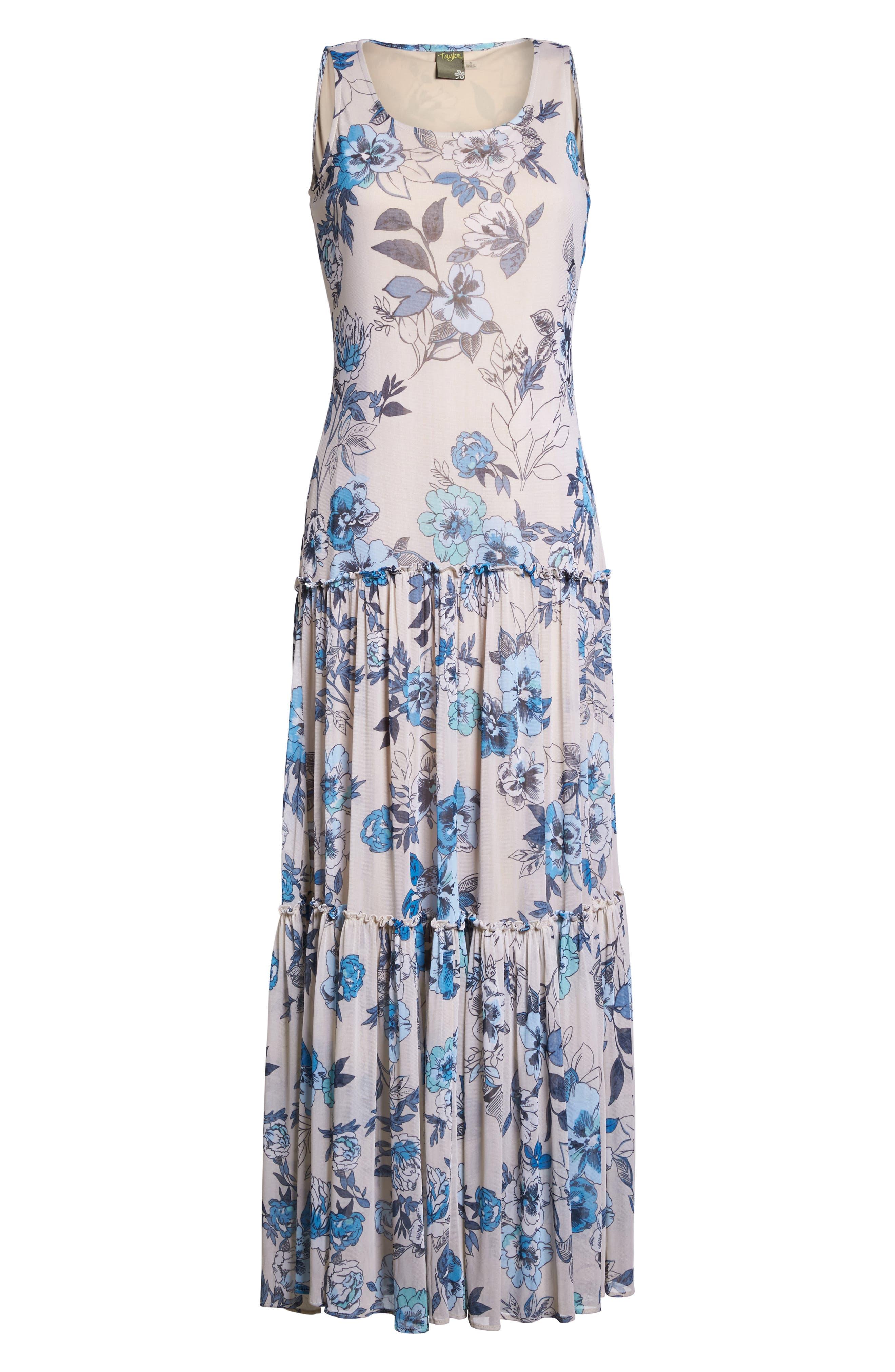Floral Maxi Dress,                             Alternate thumbnail 6, color,                             Porcelain