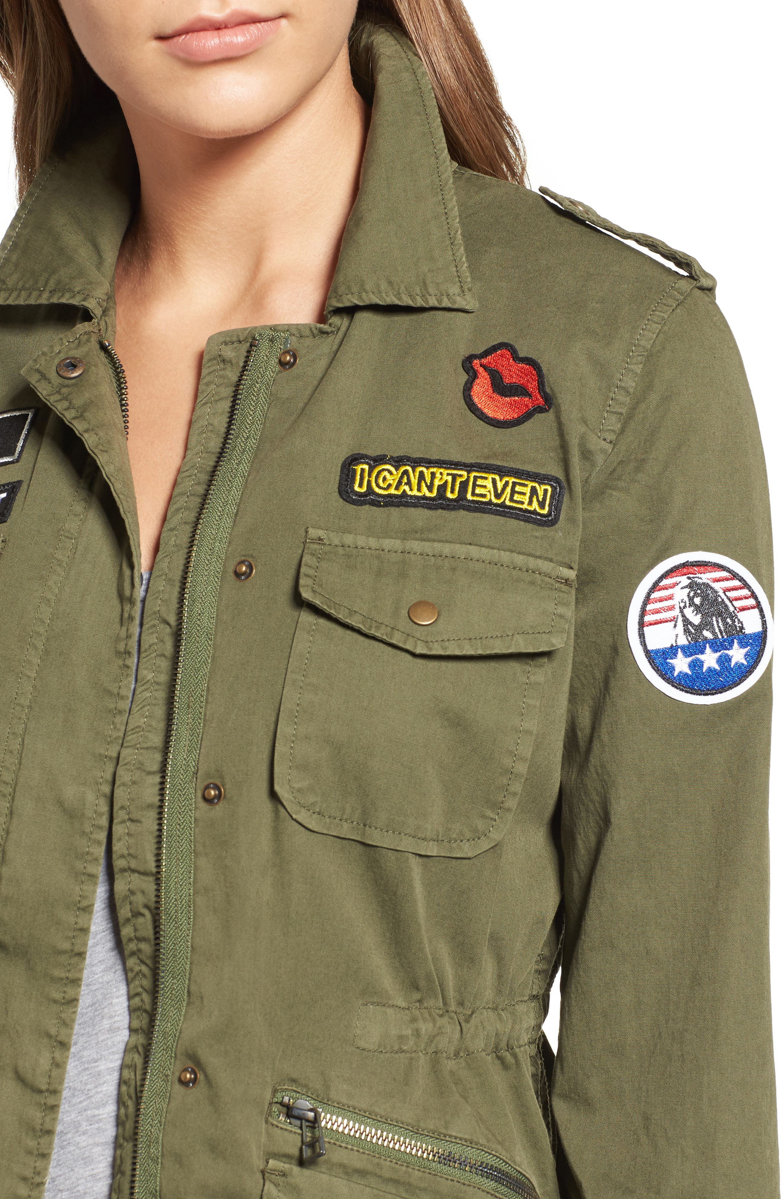 Patched Army Jacket,                             Alternate thumbnail 4, color,                             Forest Green